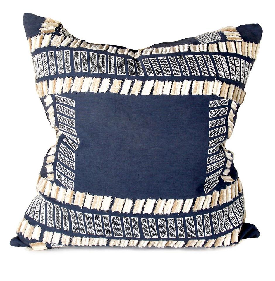 Jasper Coastal Beach Navy Stitched Pillow - 24x24