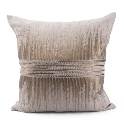 Hampton Coastal Beach Gold Natural Striated Pillow - 24x24
