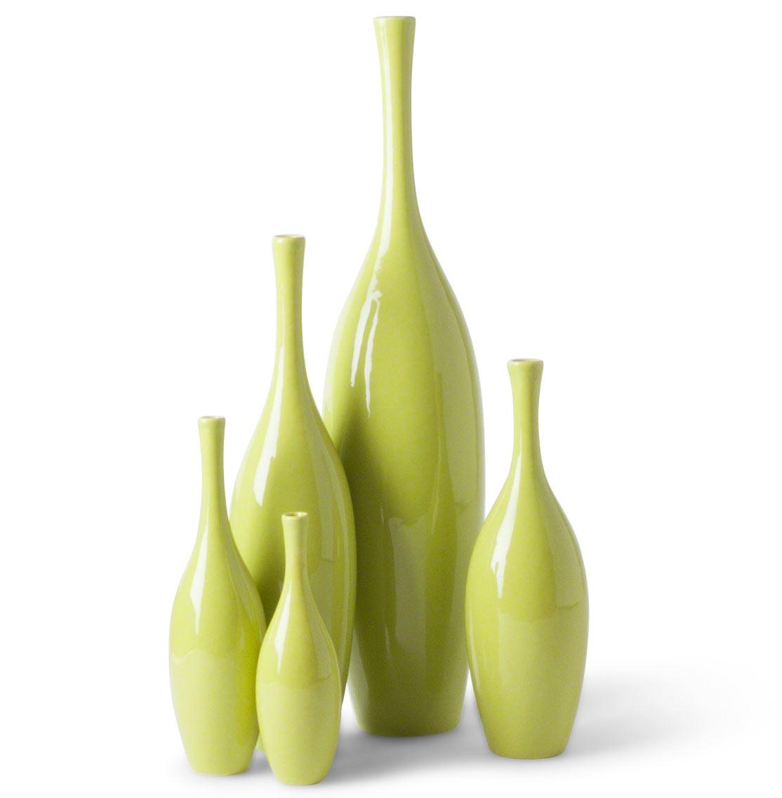 Bliss Modern Tulip Key Lime Ceramic Vases - Set of 5