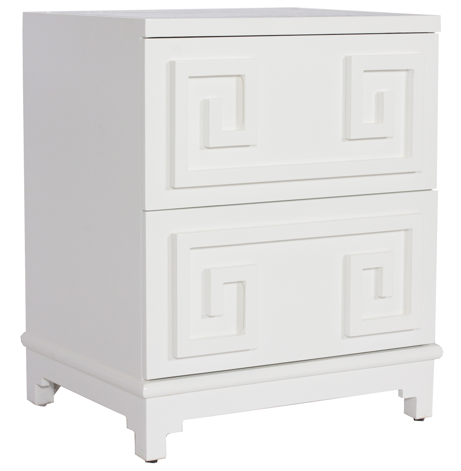 Lucio Hollywood Regency Greek White Lacquer Mirror Nightstand