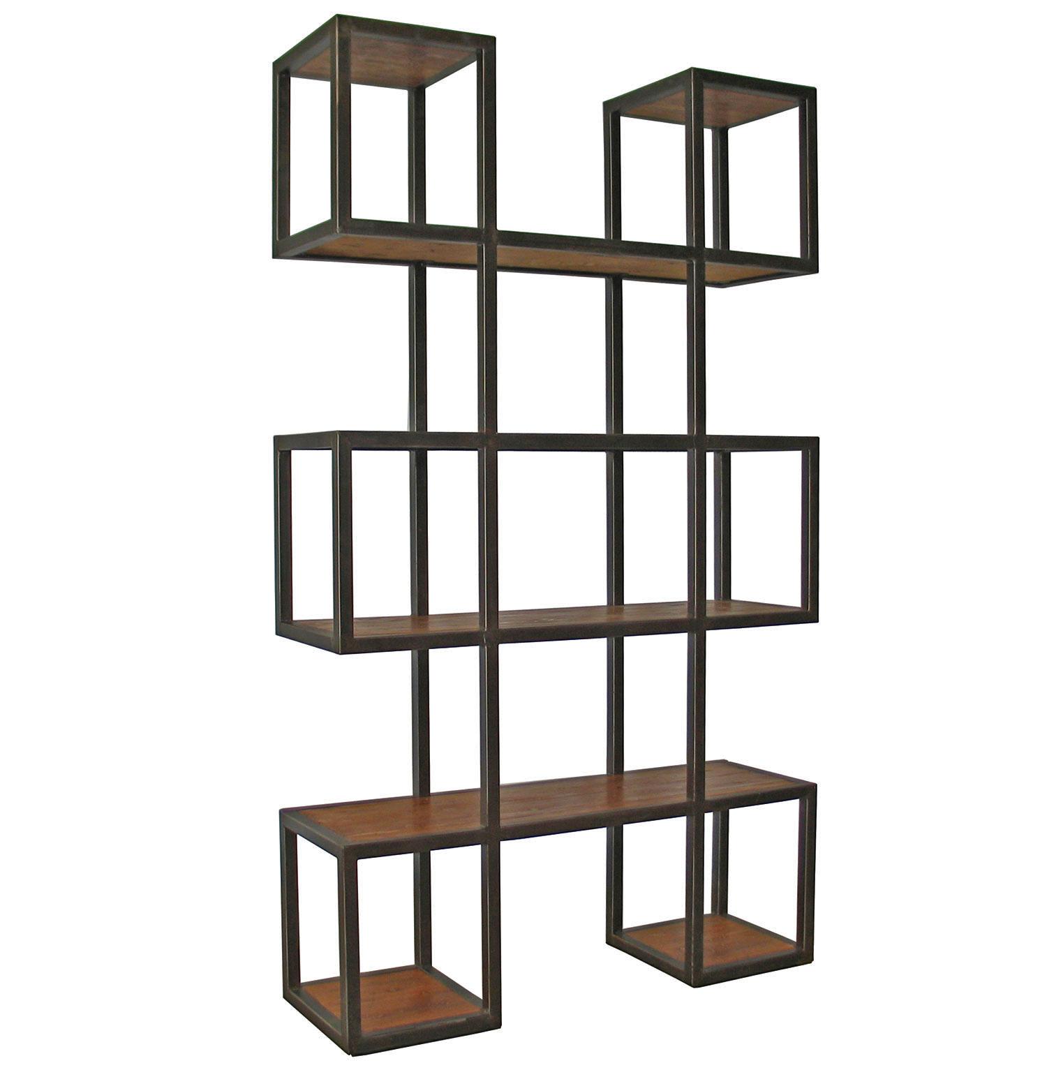 Harrogate Block Metal Wood Industrial Loft Bookcase