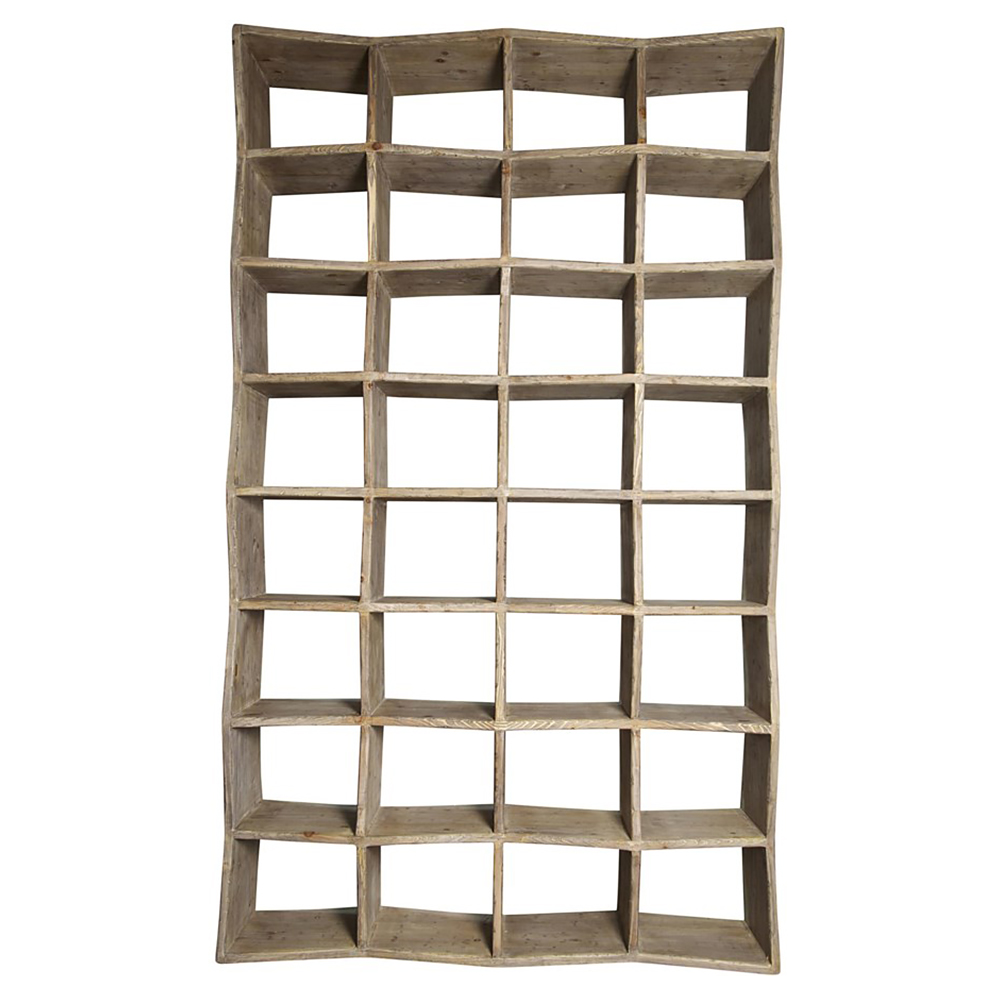 Millbrook Modern Rustic Raw Wood Industrial Style Cube Bookcase