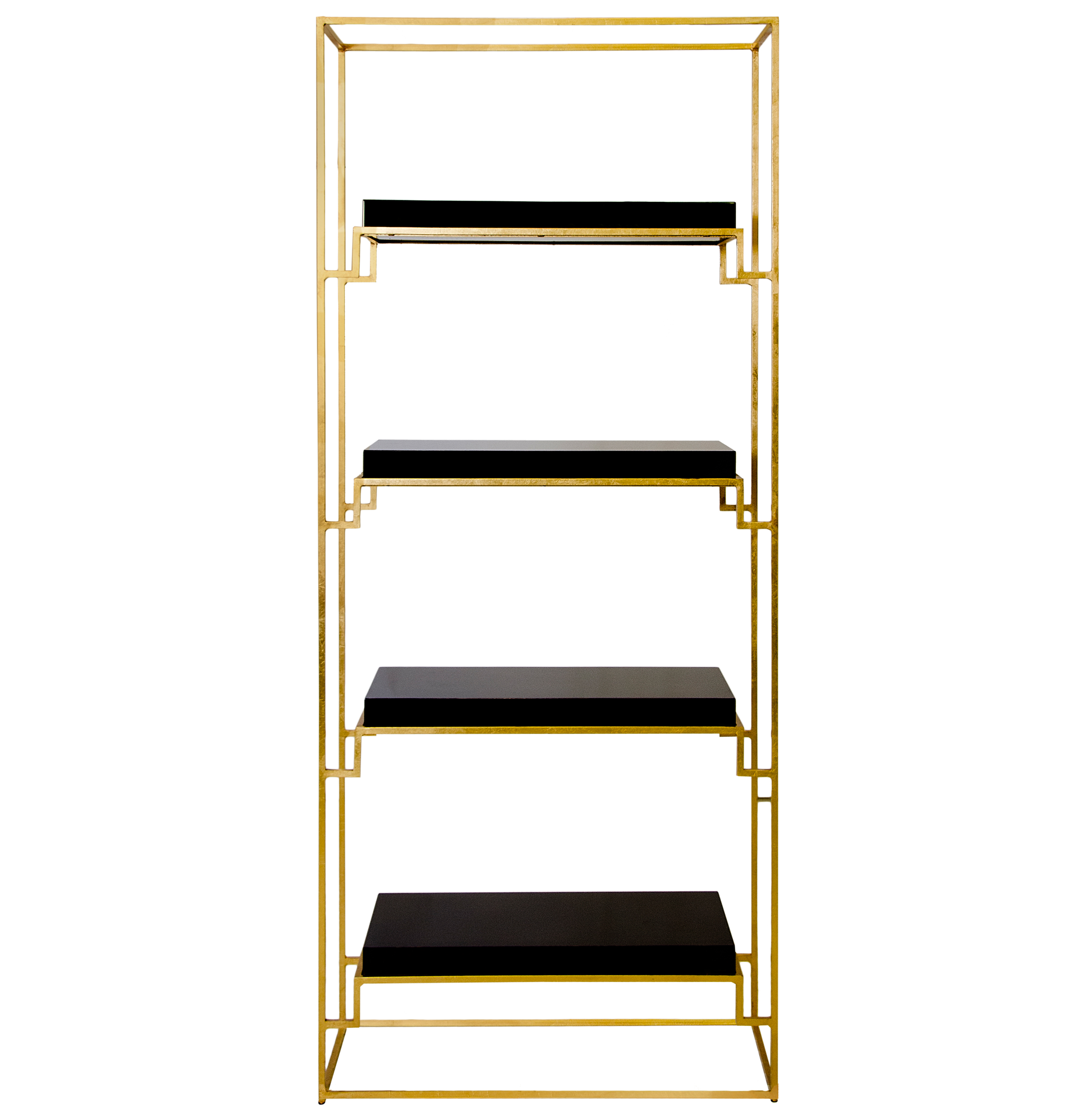 Brenner Hollywood Regency Gold Black Lacquer Etagere