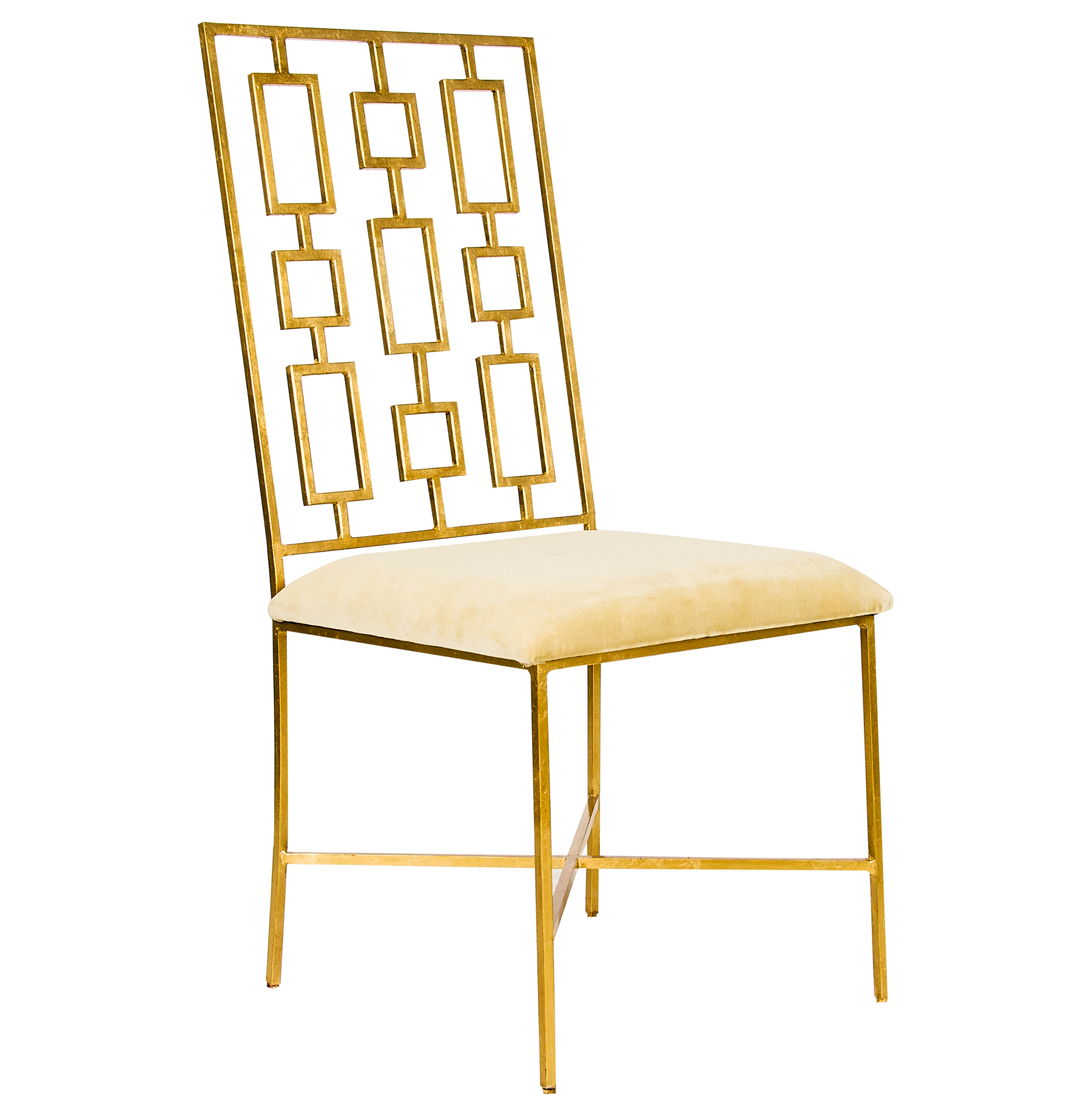 Tetris Hollywood Regency Gold Beige Velvet Dining Side Chair