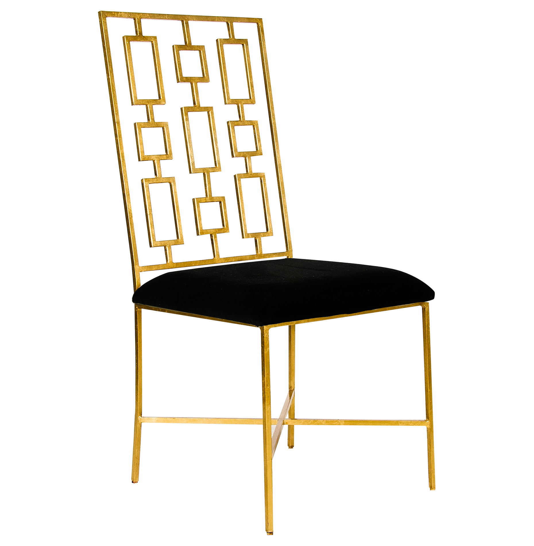 Tetris Hollywood Regency Gold Black Velvet Dining Side Chair