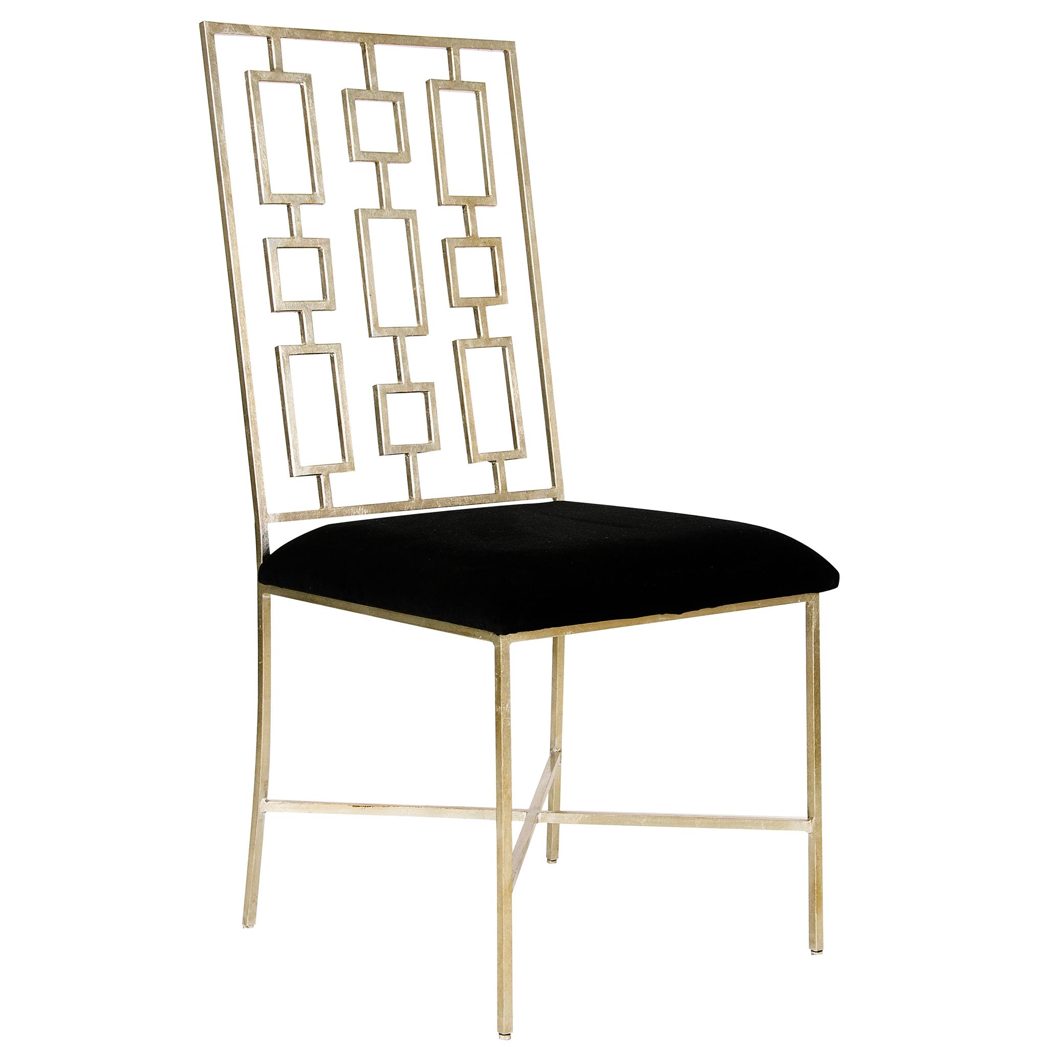 Tetris Hollywood Regency Silver Black Velvet Dining Side Chair