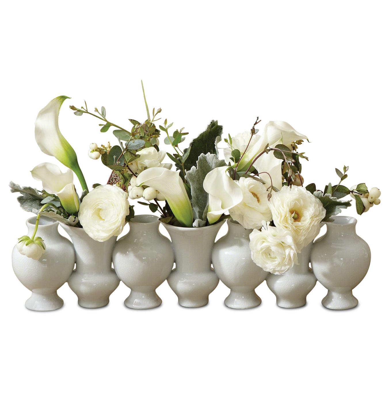 Fusion Hollywood Regency White Bud Vase Line