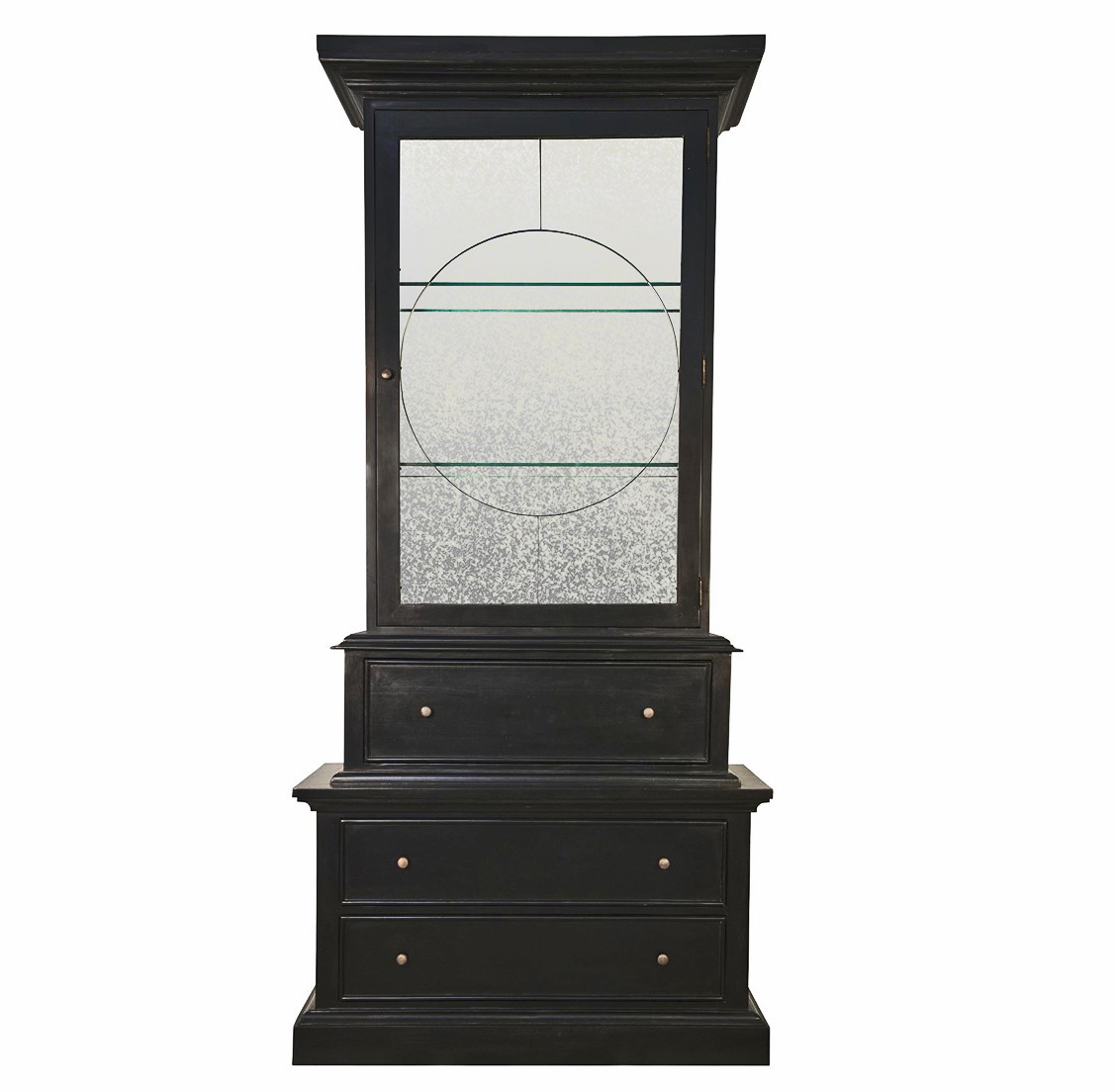 Alden French Country Trellis Hand Rubbed Black Cabinet