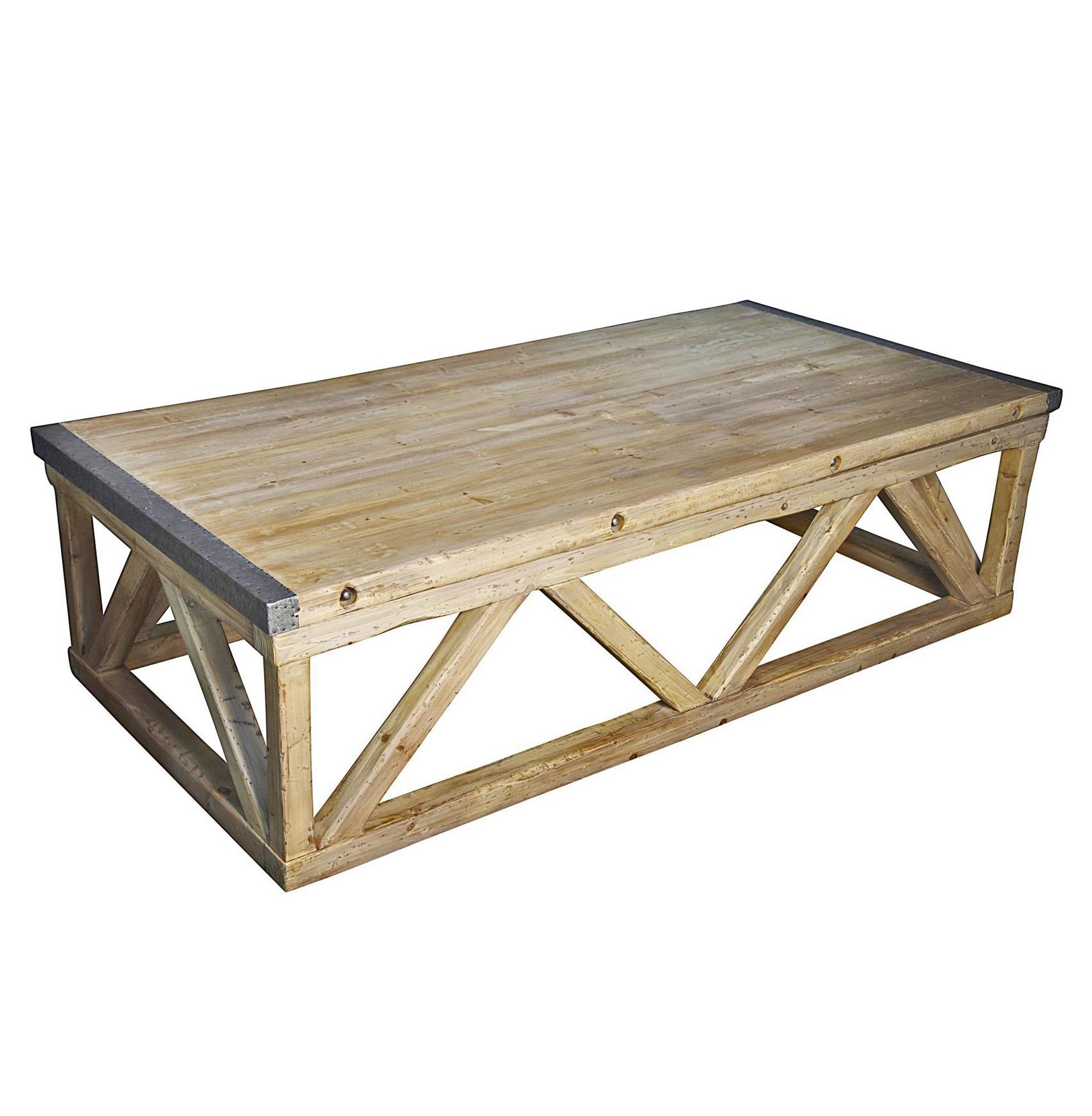 Duncan Industrial Loft Metal Wood Coffee Table