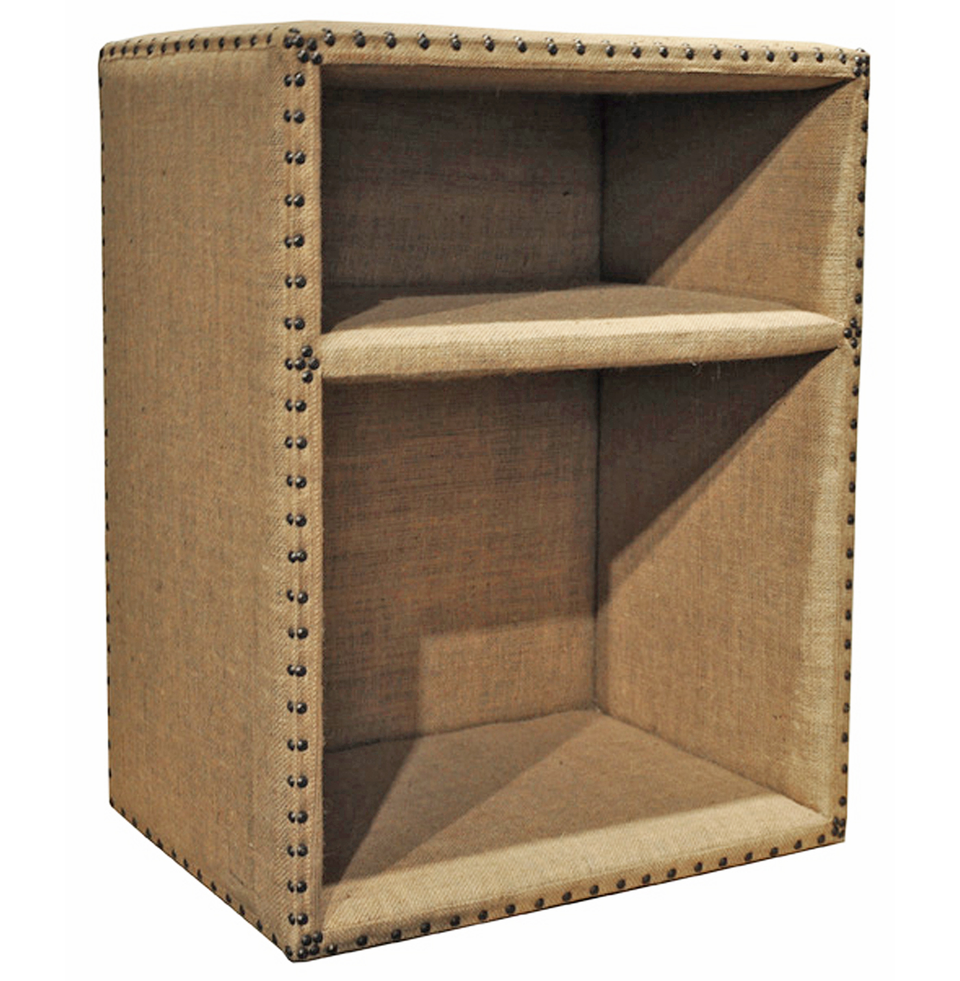 Lucas French Country Burlap Nailhead Side Table