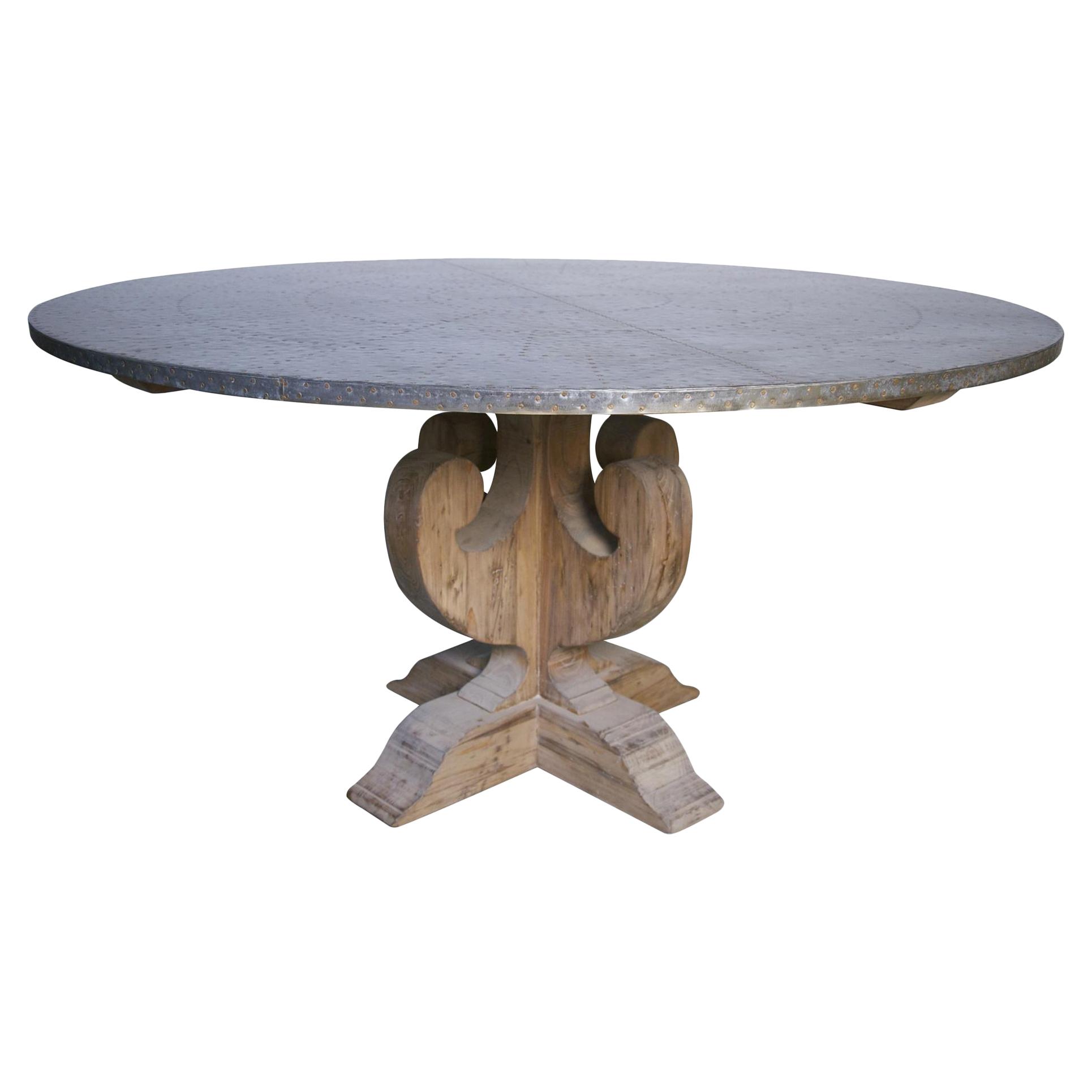 Walker Industrial Loft Zinc Top Wood Base Round Dining Table
