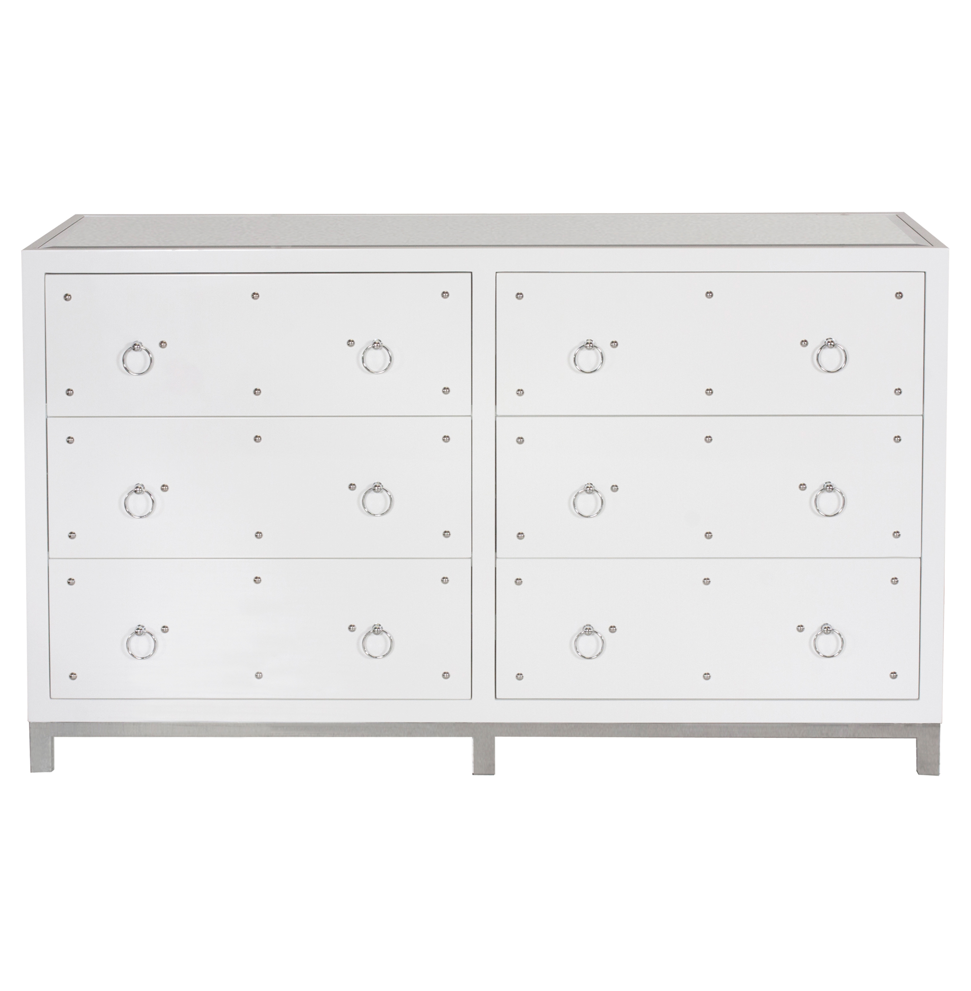 Harley Hollywood Regency Studded White Lacquer Mirror Dresser