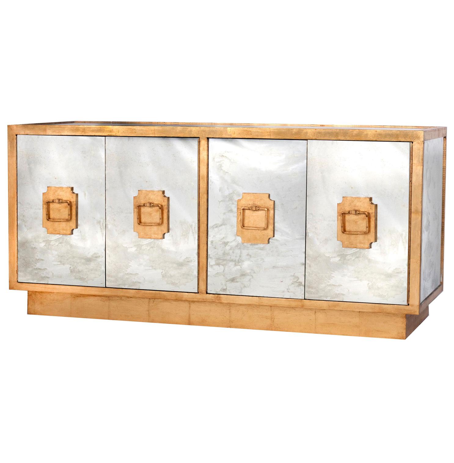 Chantal Hollywood Regency Antique Gold Mirror Sideboard Buffet