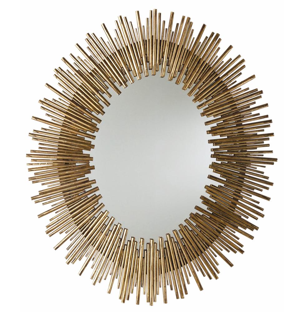 Bassett Antiqued Gold Leaf Sunburst Oval Iron Mirror - 40.5 Inch