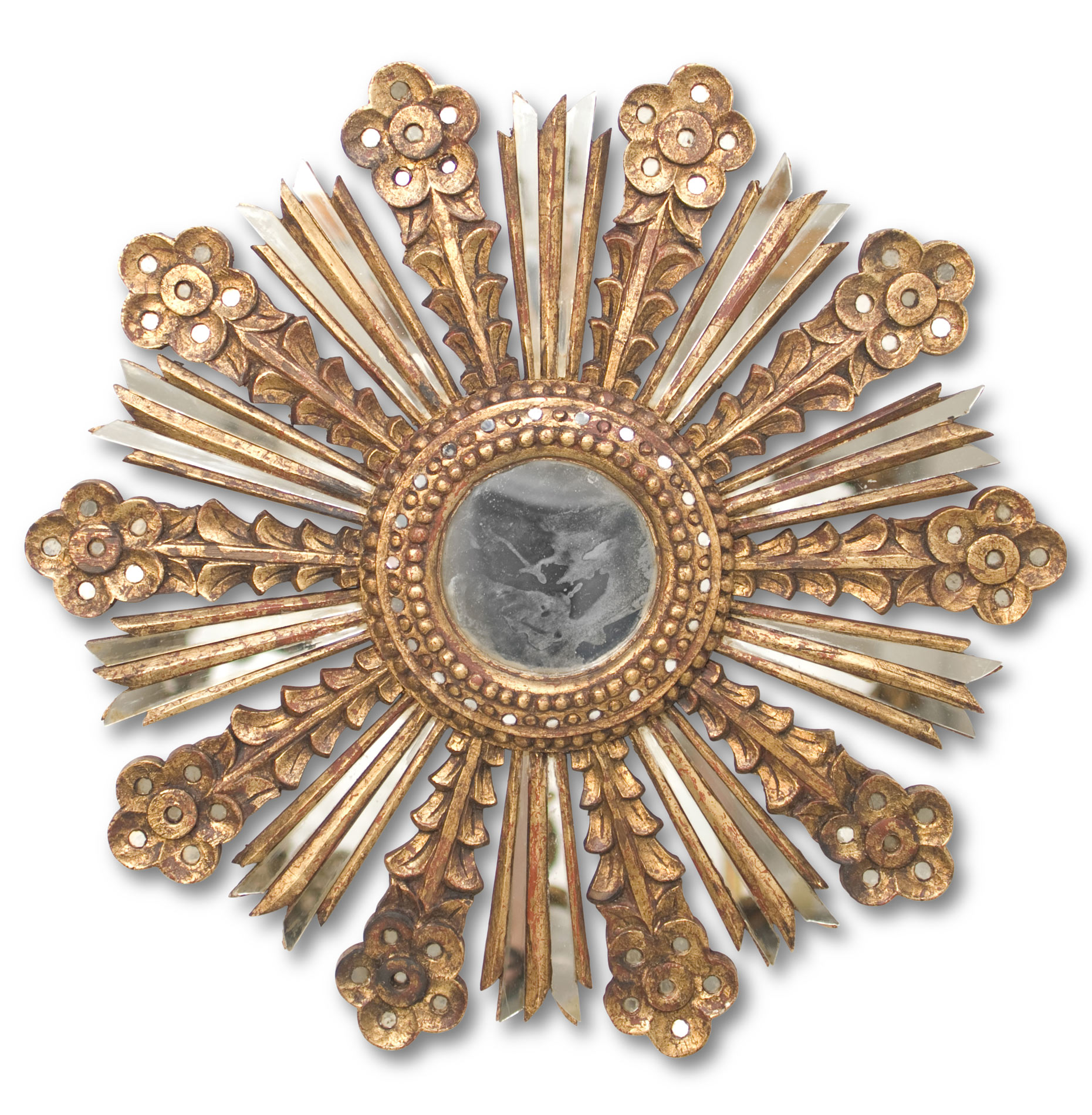 Sonrisa Global Bazaar Gold Sunburst Antique Wall Mirror
