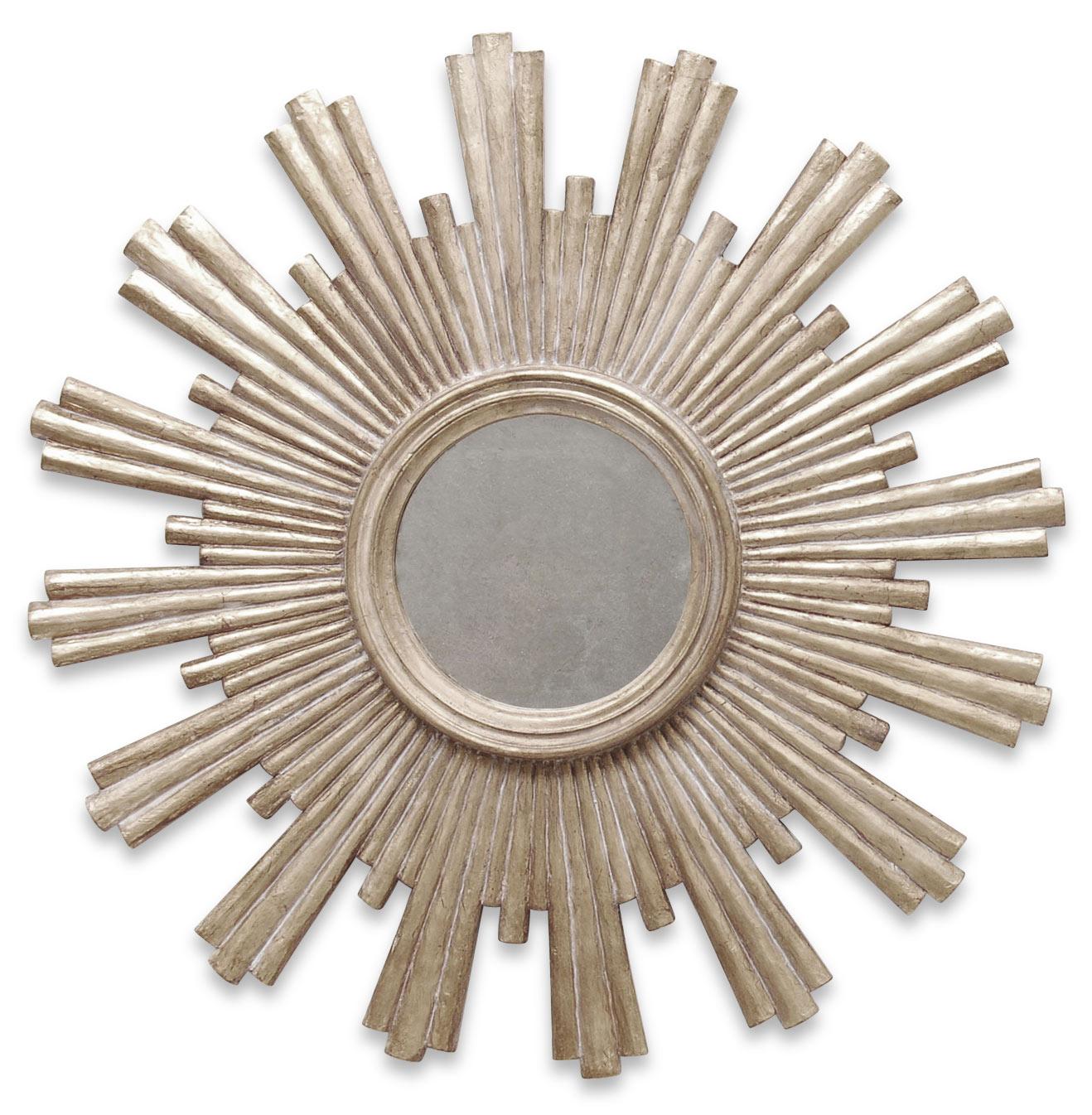 Avino Hollywood Regency Silver Sunburst Antique Wall Mirror