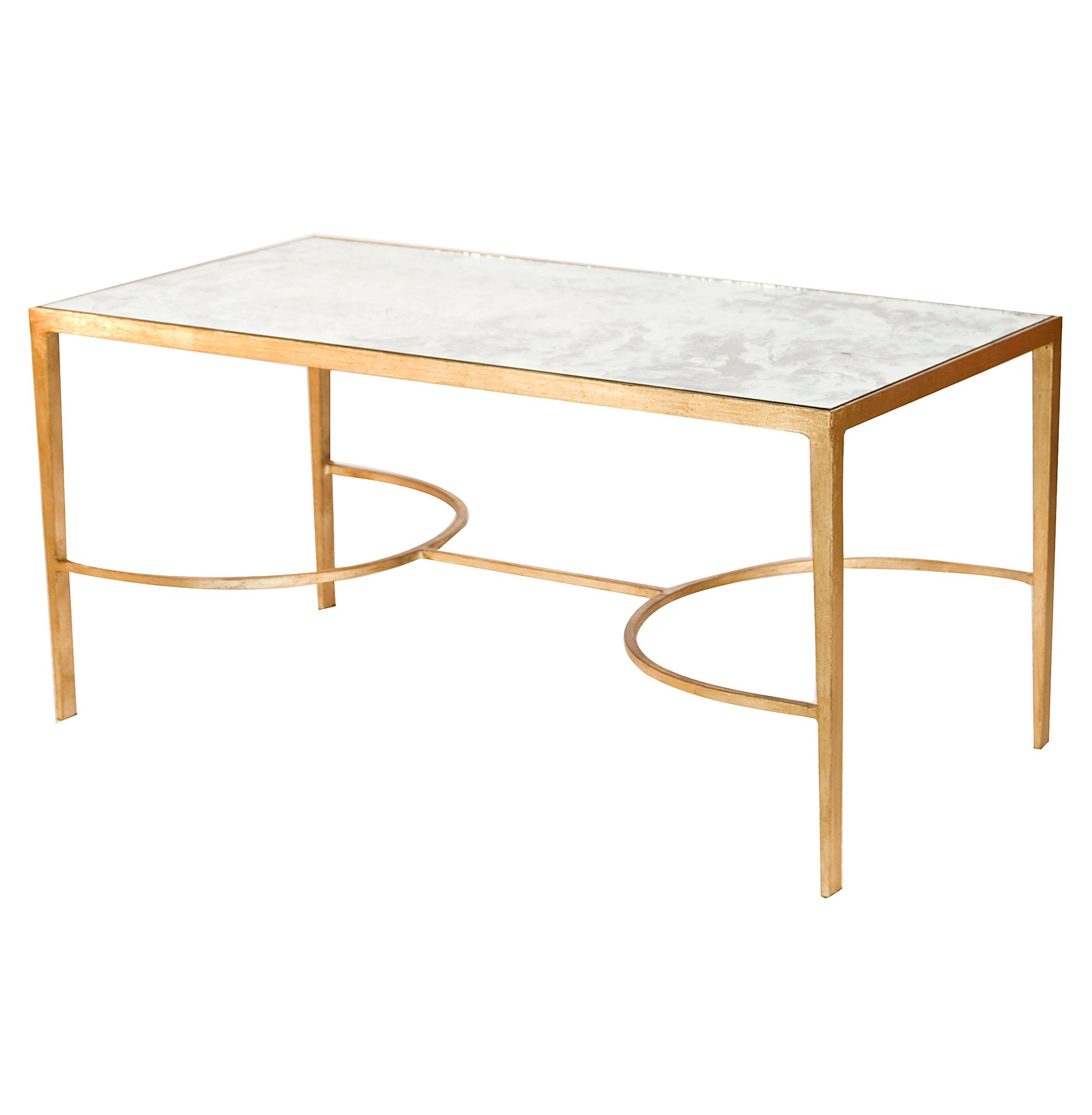 Pamela Hollywood Regency Gold Antique Mirror Coffee Table