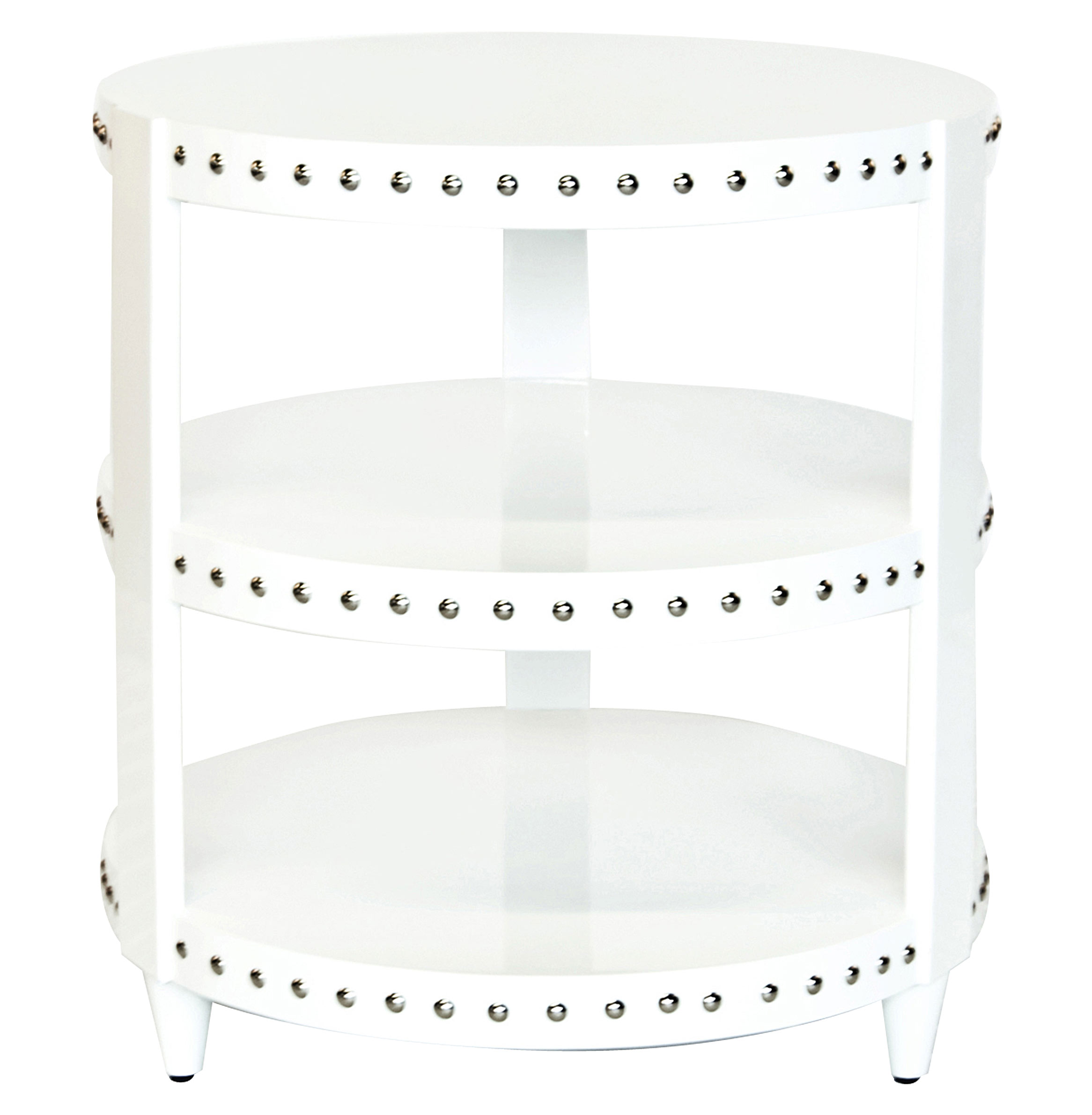 Talia Hollywood Regency White Lacquer Studded Side Table