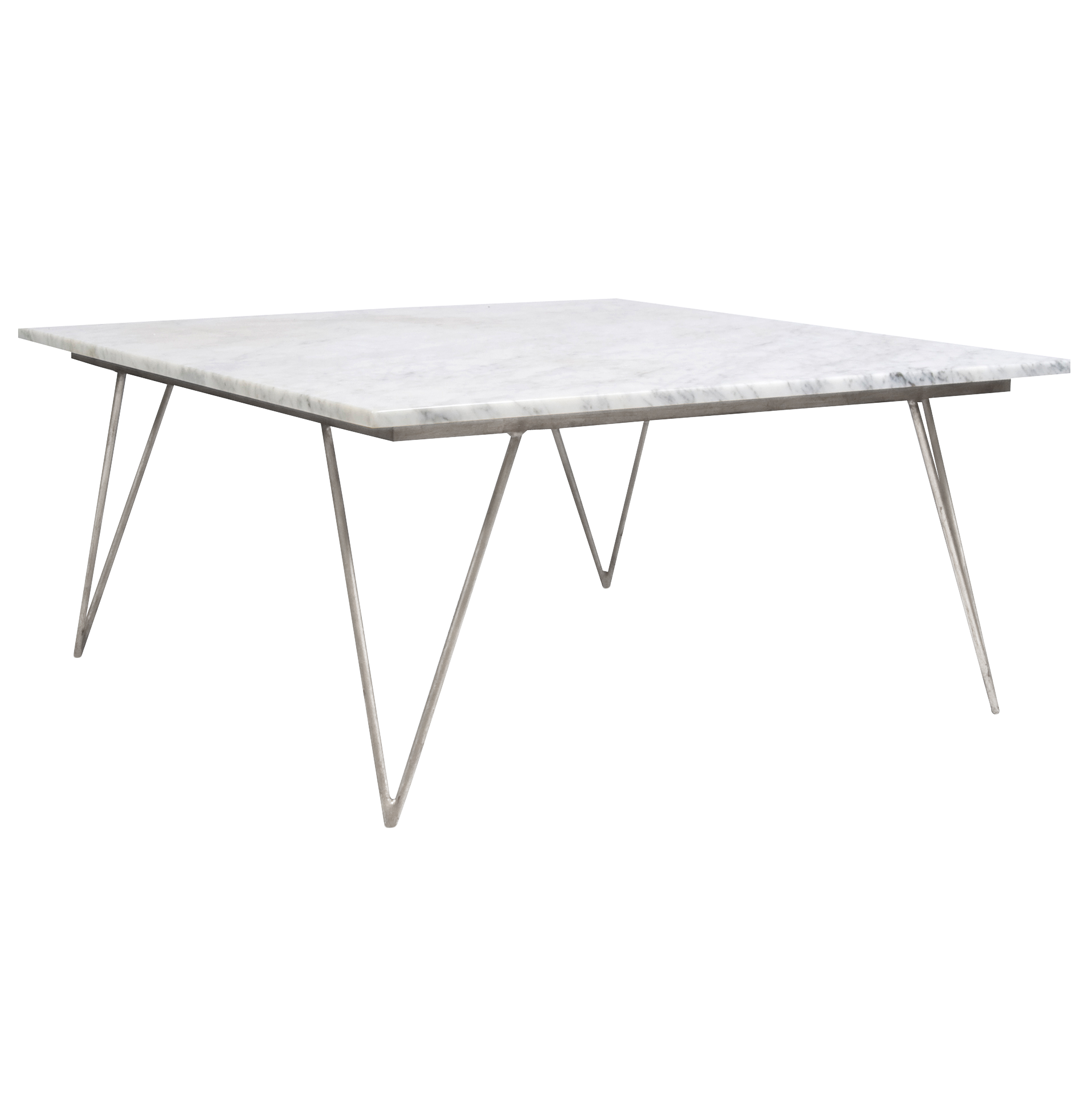 Piazza Hollywood Regency White Marble Silver Coffee Table
