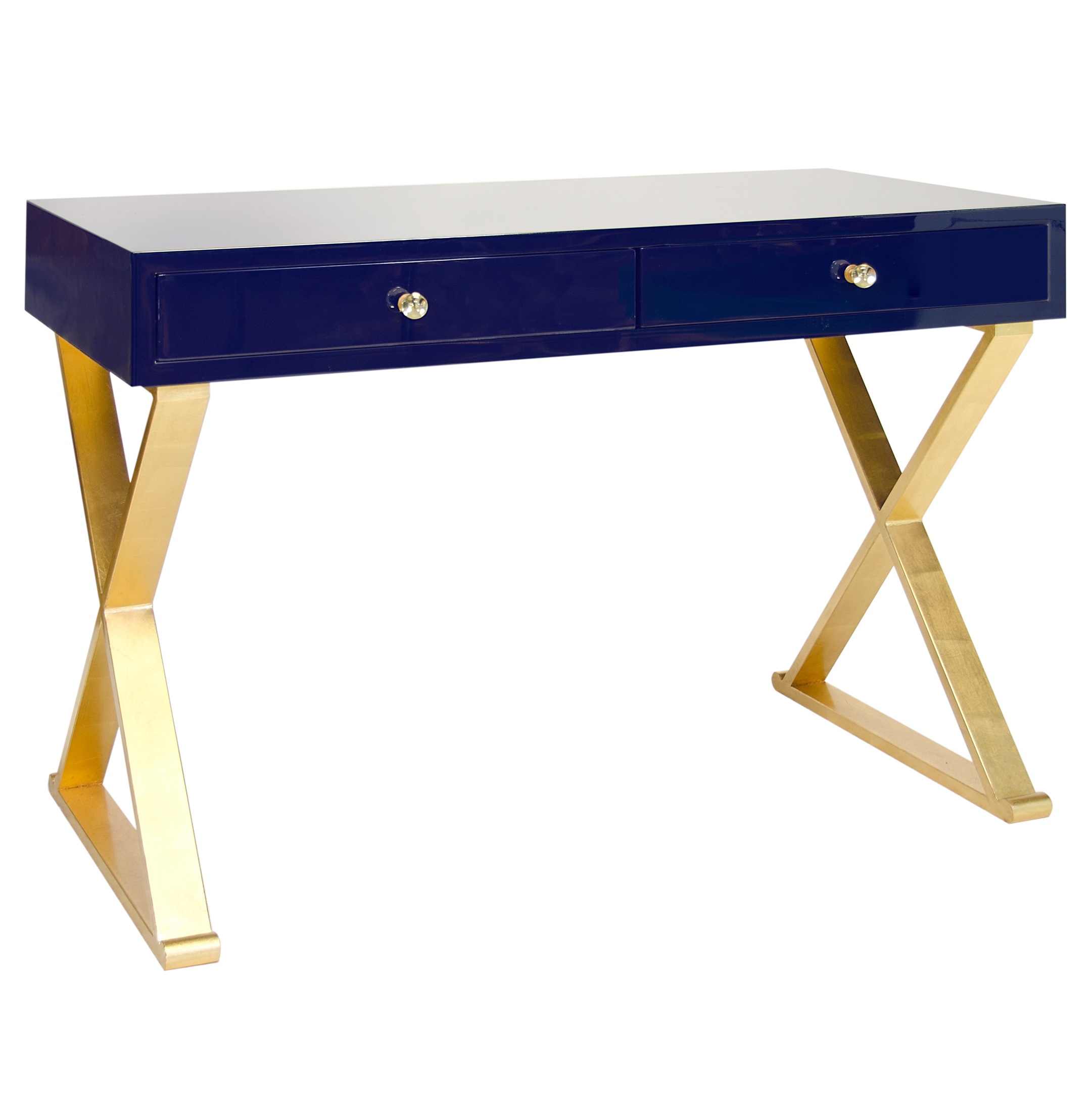 Keating Hollywood Regency Navy Blue Lacquer Gold Desk