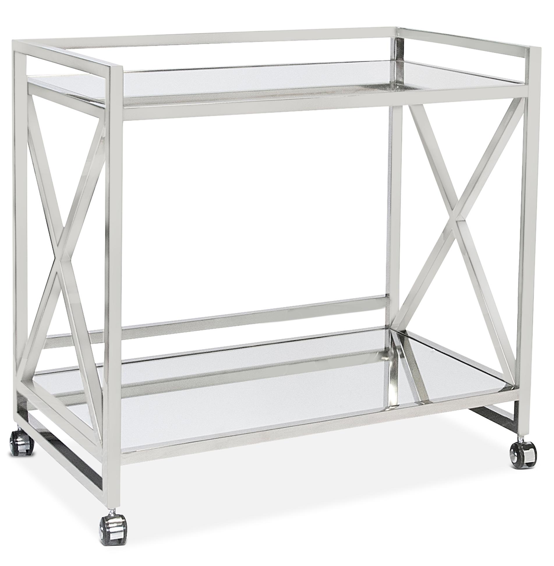 Kerry Hollywood Regency Stainless Steel Mirror Serving Bar Cart