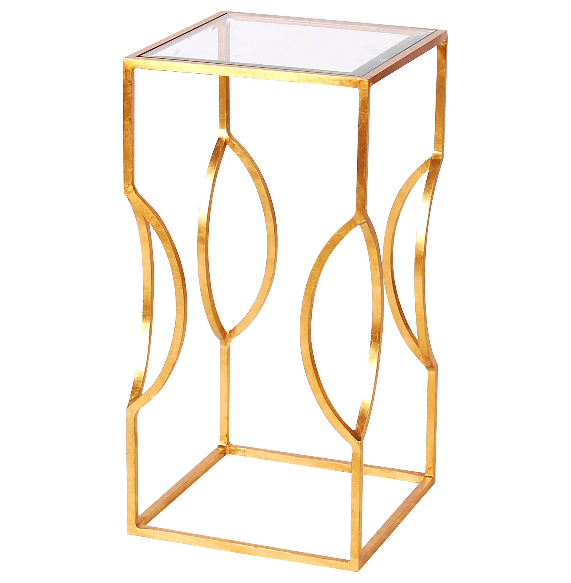 Palmetto Hollywood Regency Gold Glass Square Side Table