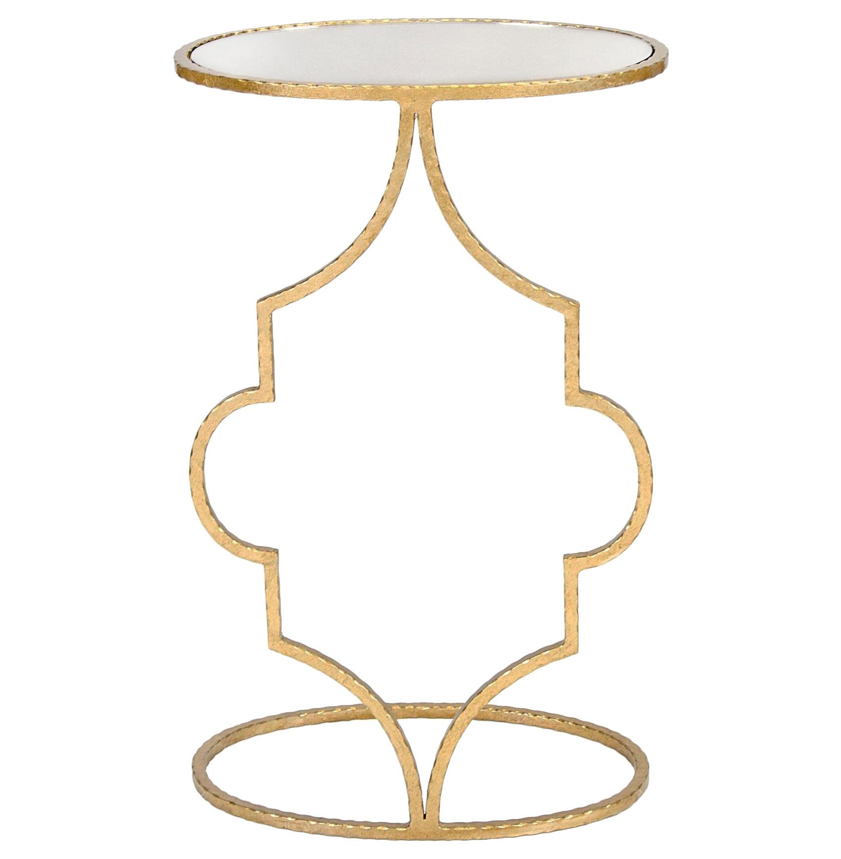 Bellagio Hollywood Regency Gold Mirror Quatrefoil Side Table