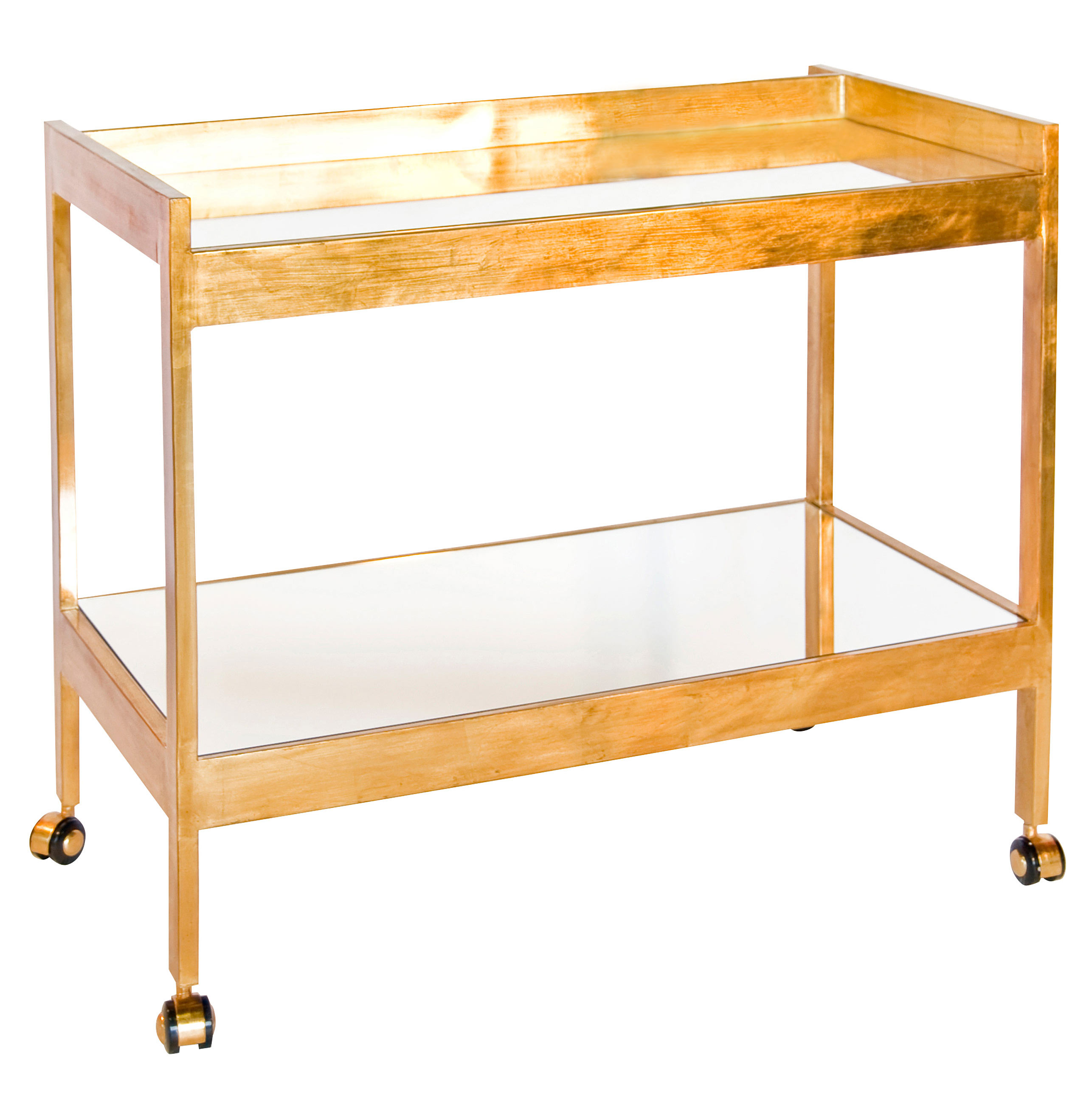 Gia Hollywood Regency Gold Mirror 2 Tier Serving Bar Cart
