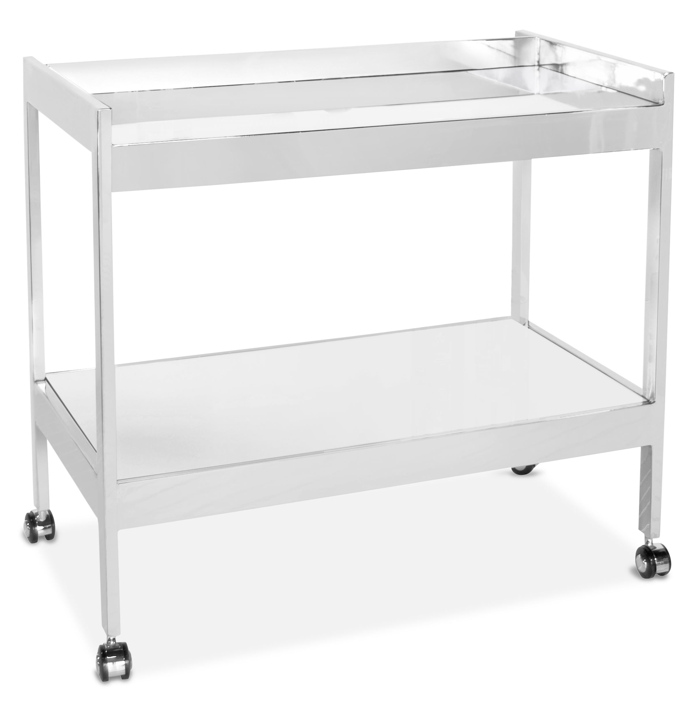 Gia Hollywood Regency Silver Mirror 2 Tier Serving Bar Cart