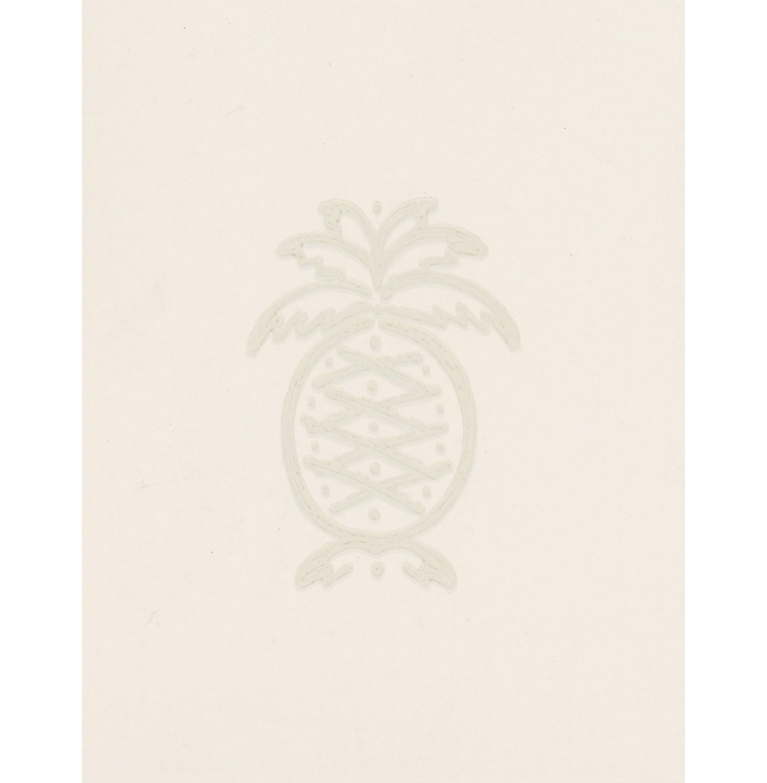 Classic Pineapple Motif Colonial Wallpaper - Natural