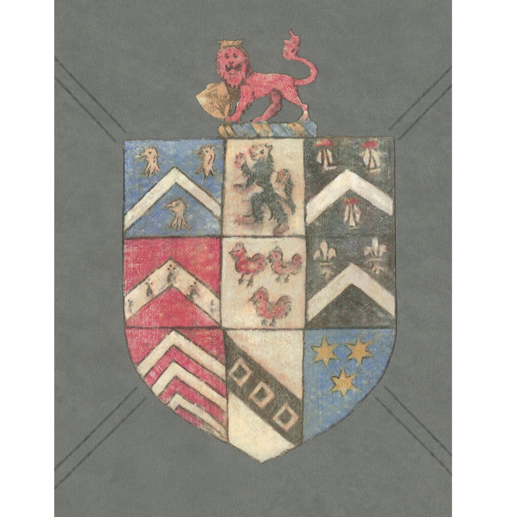 Crest Trellis British Motif Wallpaper - Charcoal - 2 Rolls