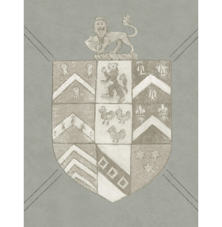 Crest Trellis British Classic Motif Wallpaper - Marl