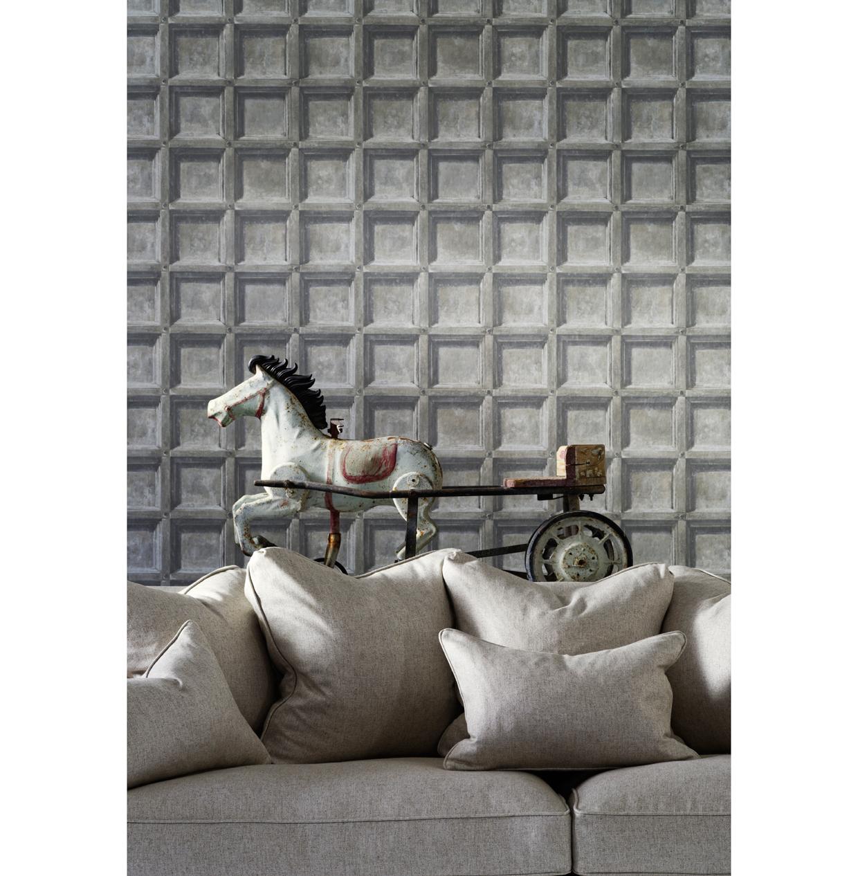 Trompe L'oeil Wood Panel Wallpaper - Limed - 2 Rolls
