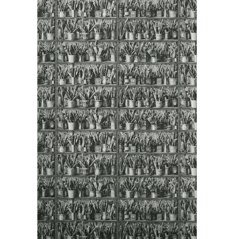 Artist Brushes Paint Cans Shelves Wallpaper - Charcoal - 2 Rolls