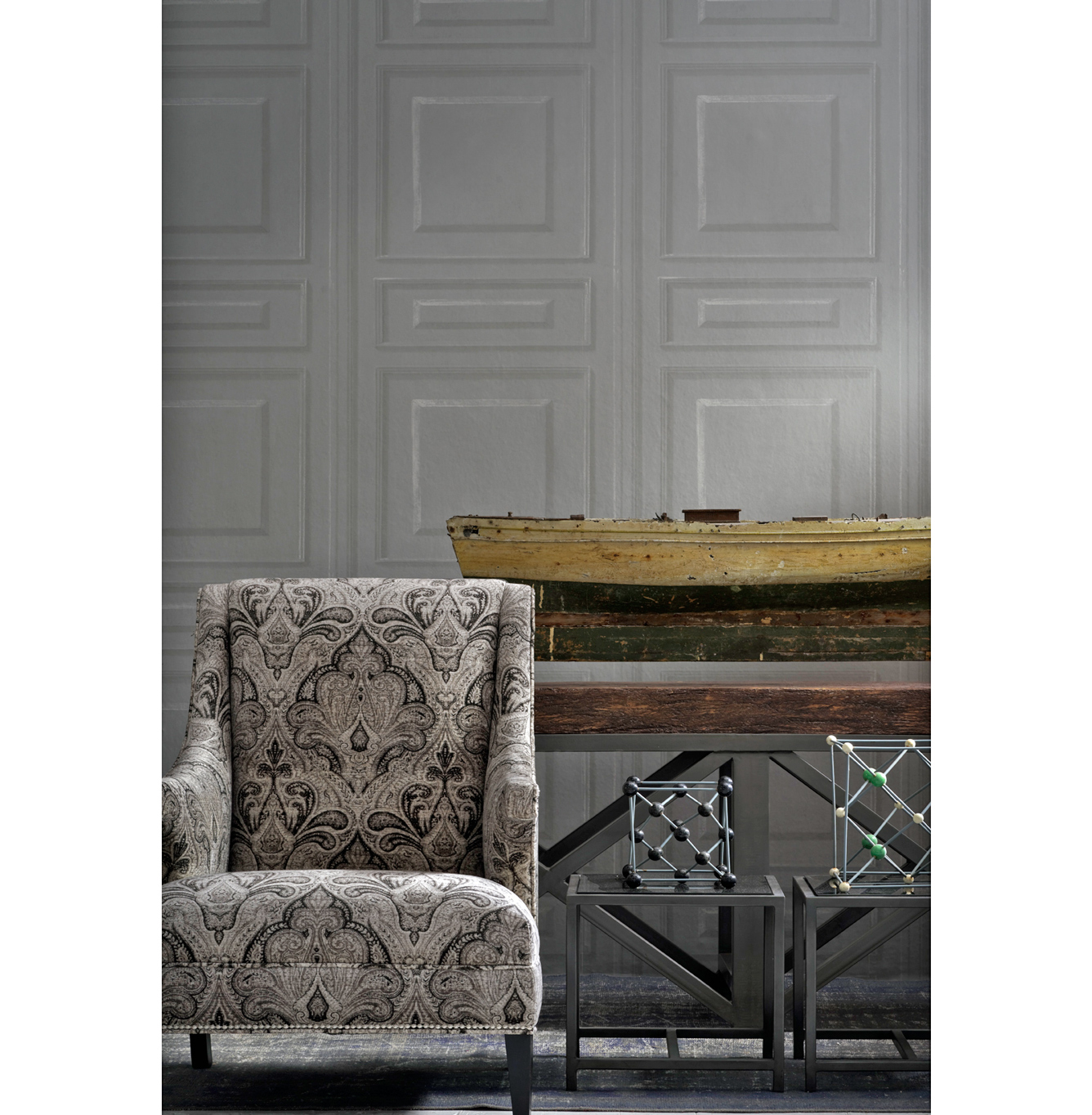 French Wood Moulding Panel Wallpaper - Charcoal - 2 Rolls