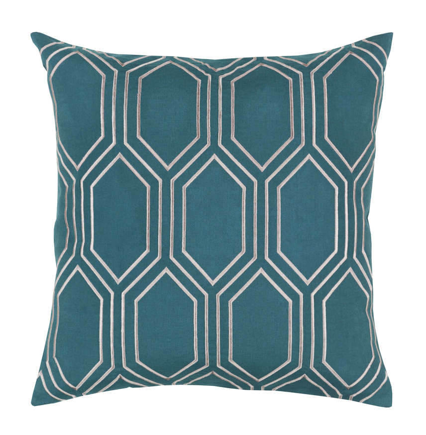 Sylvia Hollywood Regency Linen Down Teal Pillow - 18x18