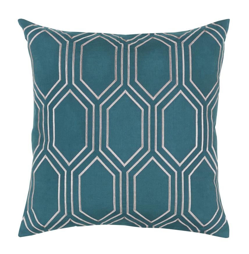 Sylvia Hollywood Regency Linen Down Teal Pillow - 20x20