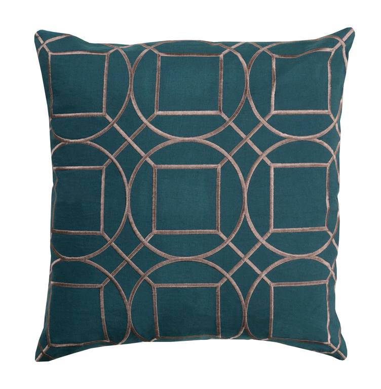 Goldie Hollywood Regency Linen Down Teal Pillow - 22x22