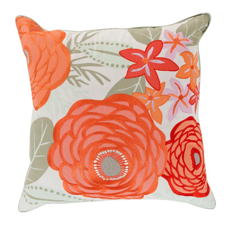 Posy Global Bazaar Cotton Down Poppy Floral Pillow - 22x22