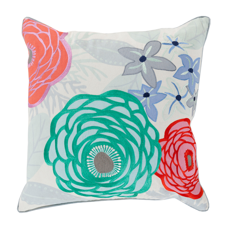 Posy Global Bazaar Cotton Down Teal Floral Pillow - 22x22