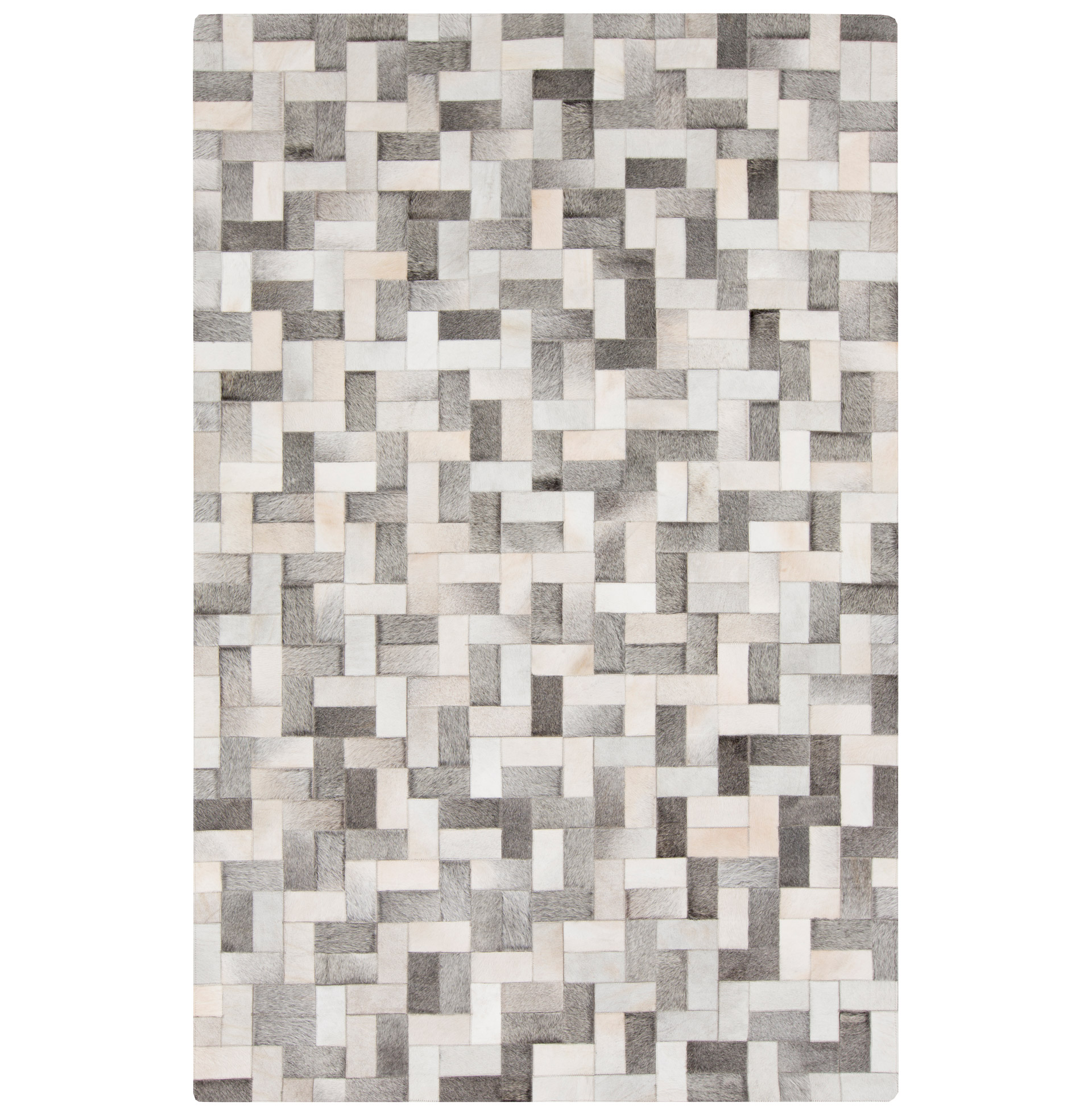 Baku Global Bazaar Brick Weave Ivory Grey Cowhide Rug - 8x10