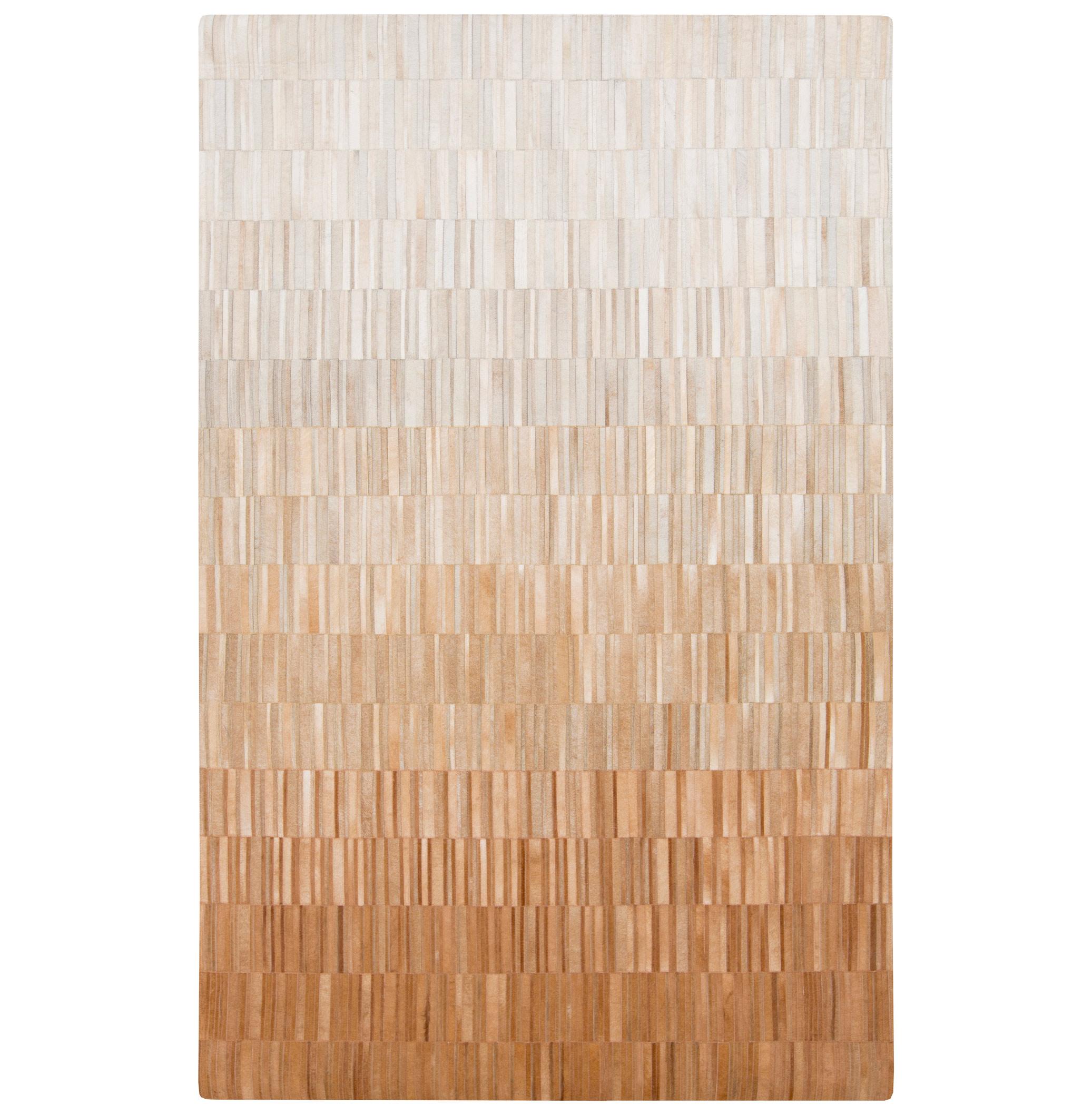 Resham Global Bazaar Vertical Tile Brown Ivory Ombre Cowhide Rug - 8x10