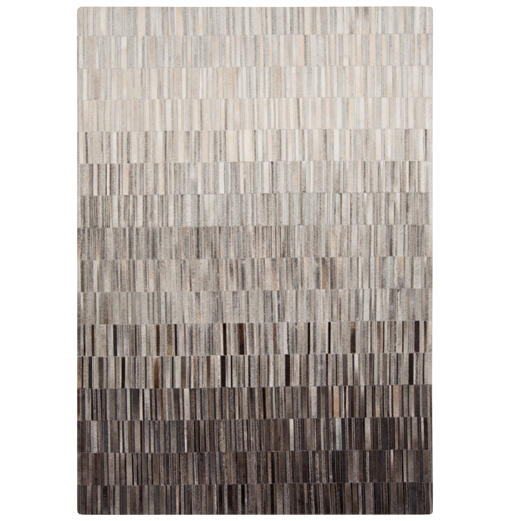 Resham Global Bazaar Vertical Tile Grey Brown Ombre Cowhide Rug - 2x3
