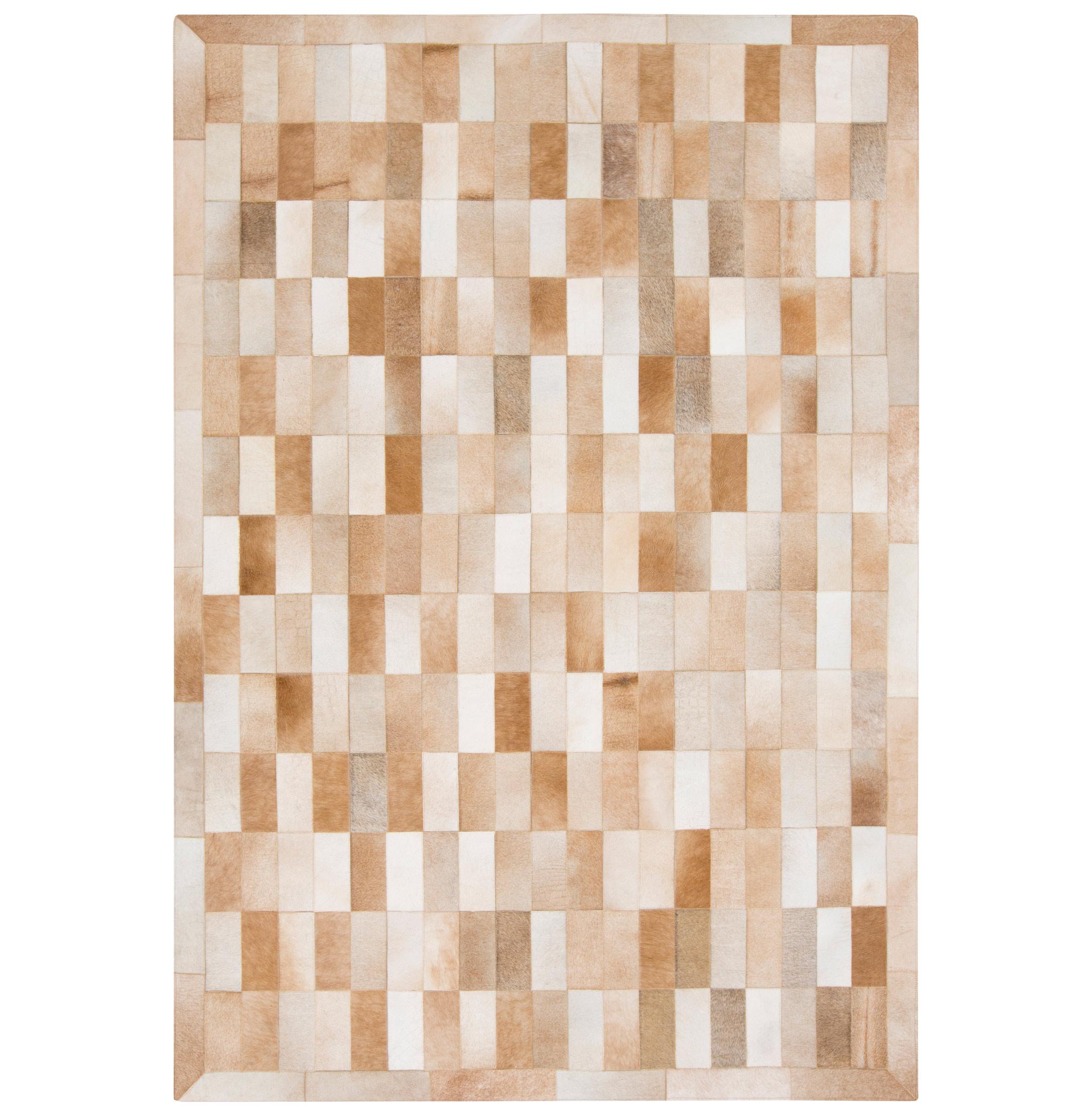 Beirut Global Bazaar Vertical Subway Tile Brown Beige Cowhide Rug - 2x3
