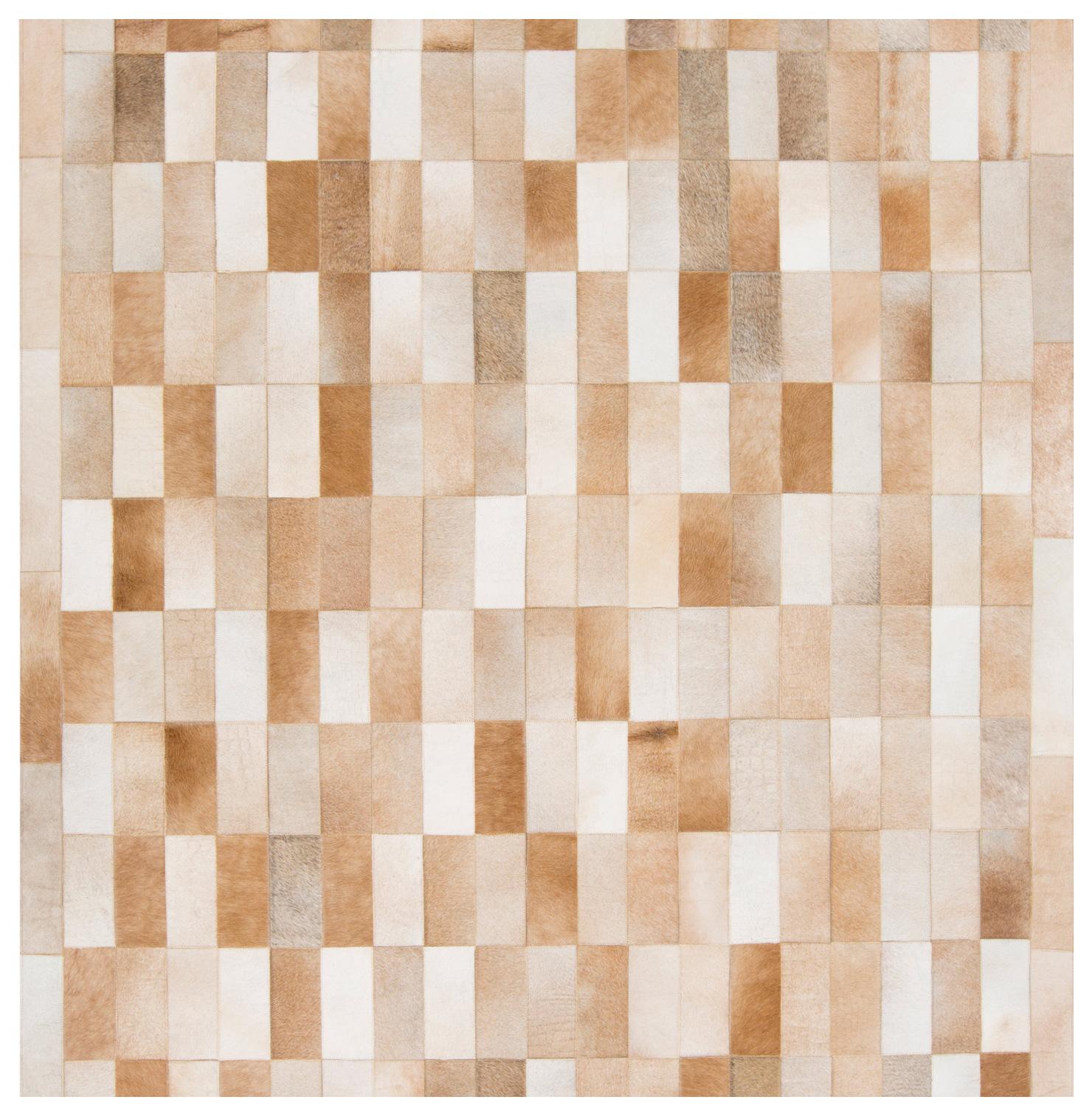 Beirut Global Bazaar Vertical Subway Tile Brown Beige Cowhide Rug - 18 Inch Sample