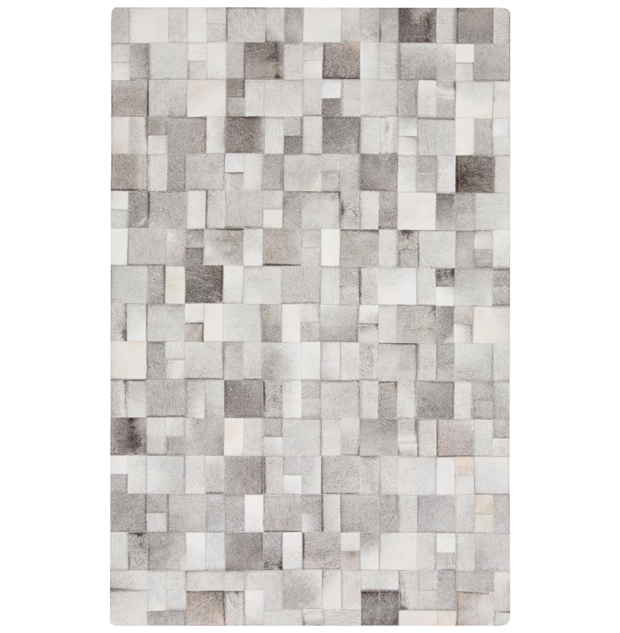 Bursa Global Bazaar Mondrian Tile Grey White Cowhide Rug - 8x10