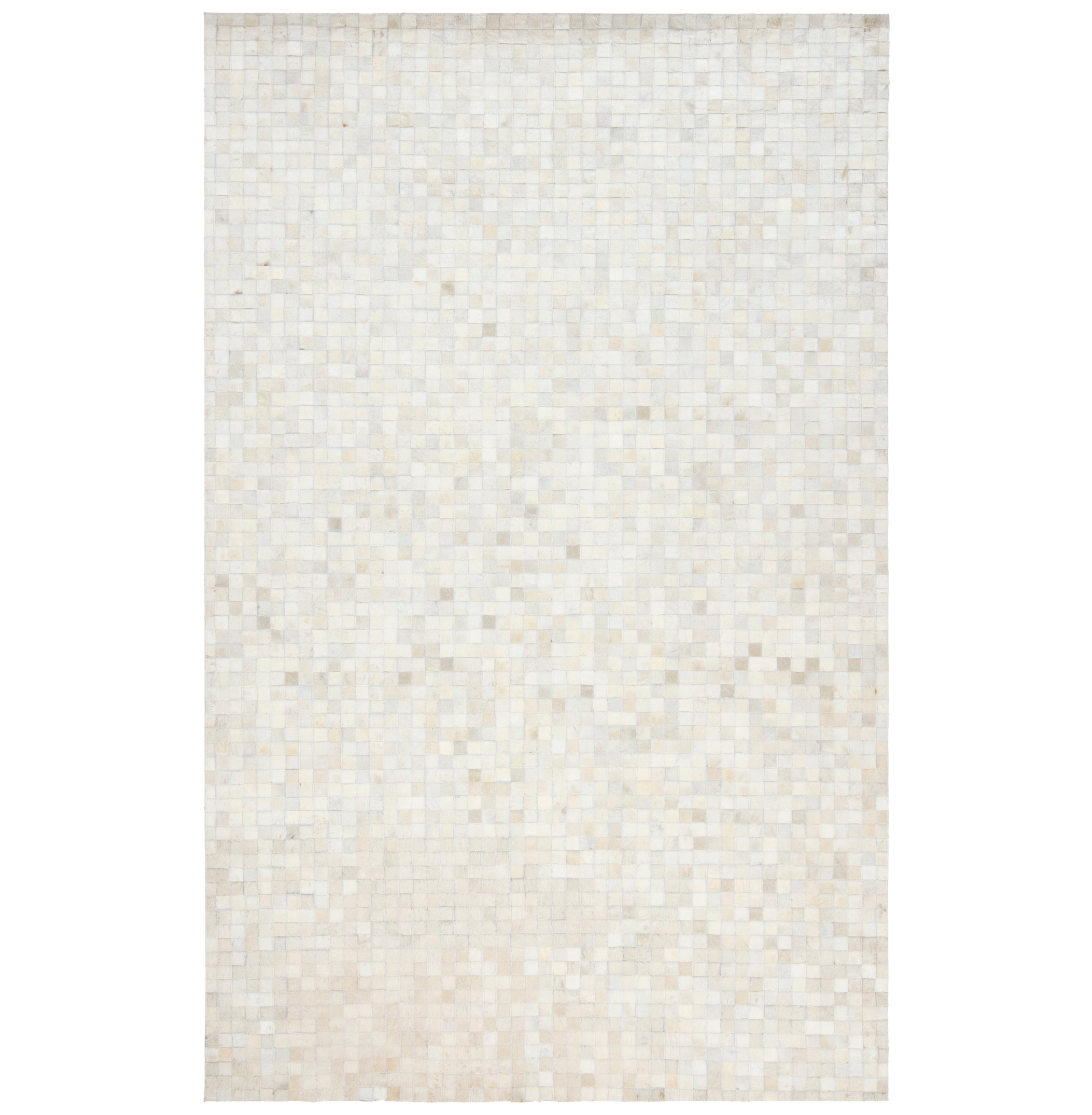 Kochi Global Bazaar Tile Ivory White Cowhide Rug - 2x3
