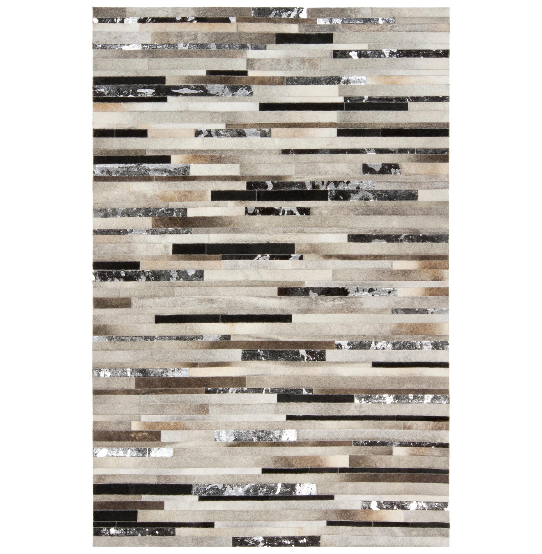 Kamla Global Bazaar Speckled Tile Black Silver Cowhide Rug - 5x8