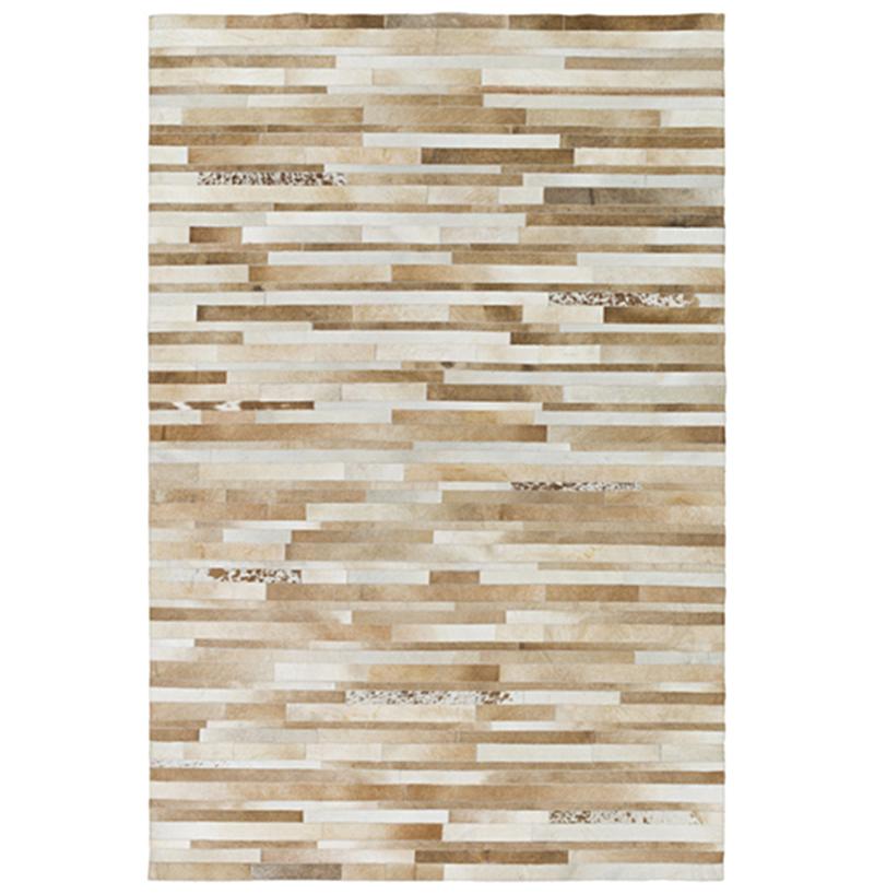 Kamla Global Bazaar Speckled Tile Brown Beige Cowhide Rug - 8x10