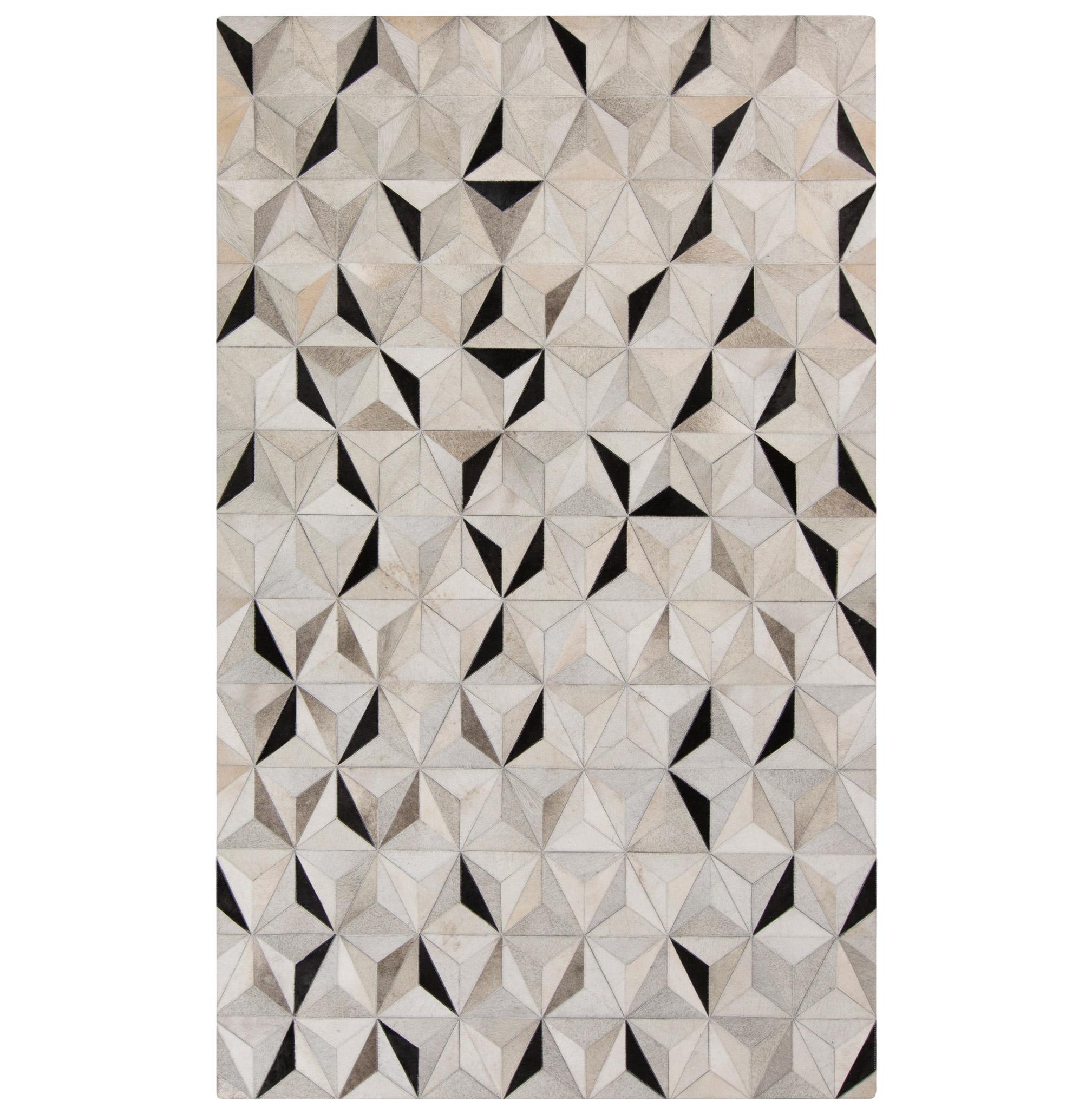 Vasant Global Bazaar Pyramid Tile Black Ivory Cowhide Rug - 8x10